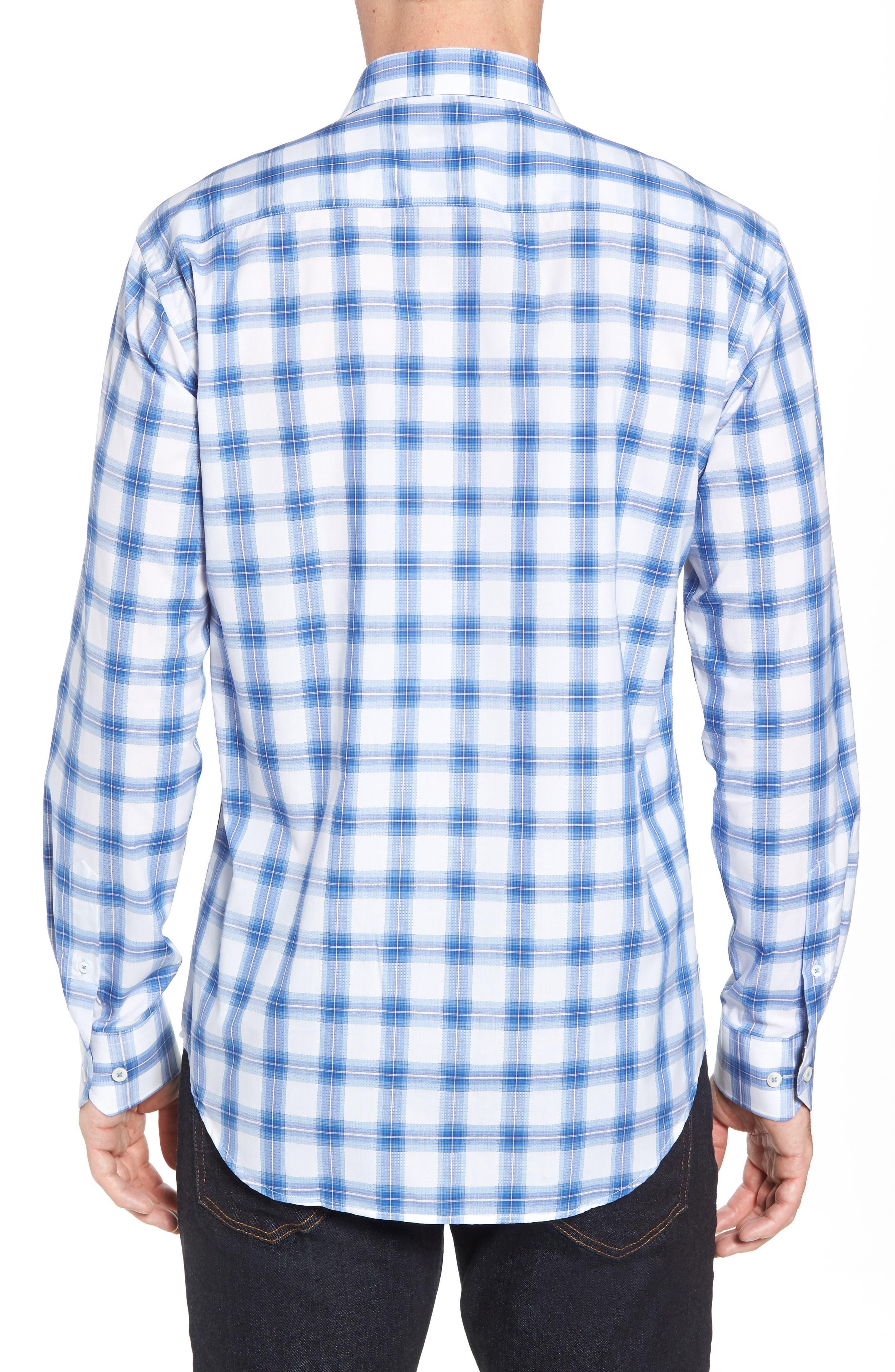 Shaped Fit Plaid Sport Shirt,                             Alternate thumbnail 3, color,                             Classic Blue