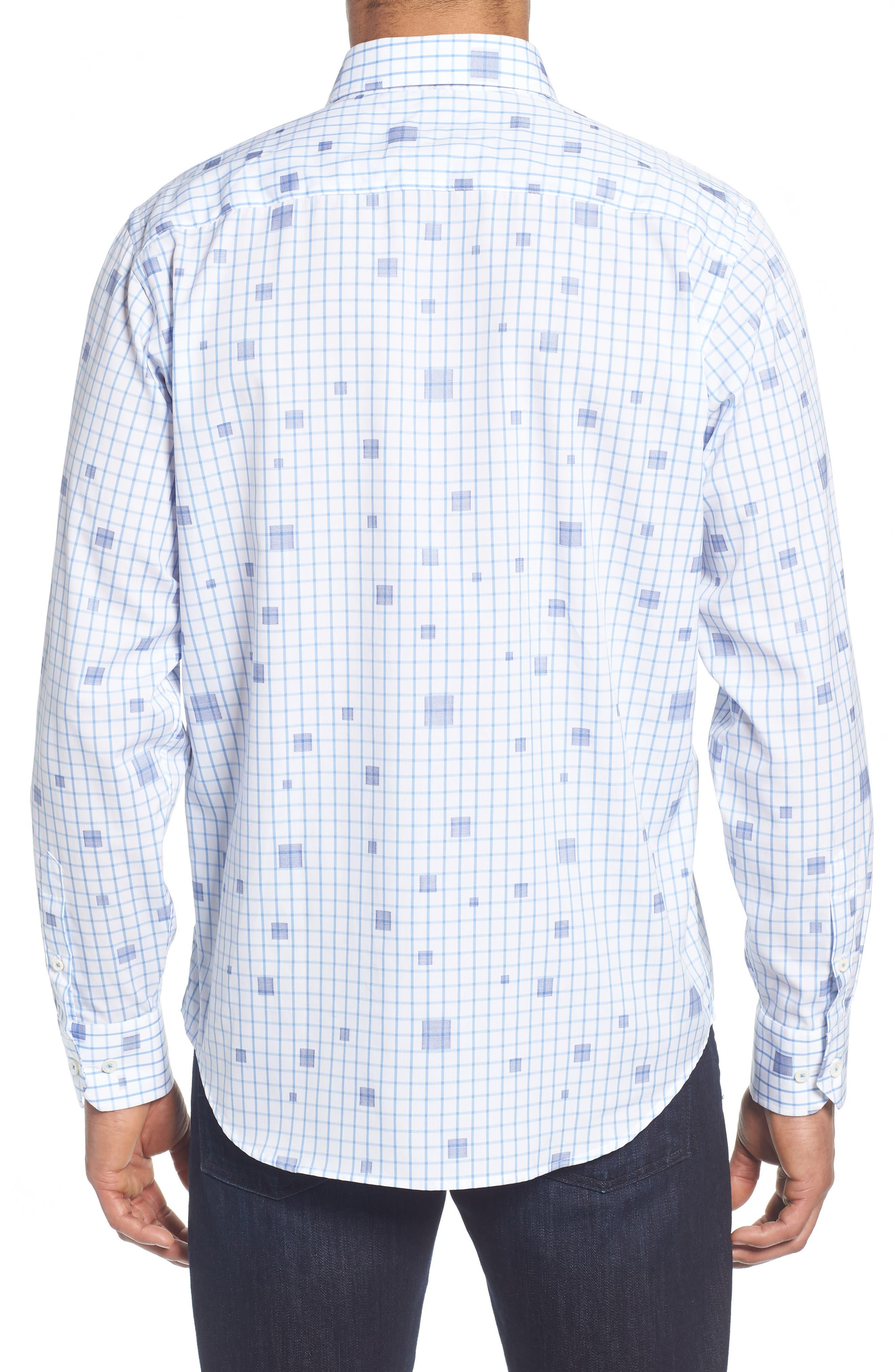 Classic Fit Square Check Sport Shirt,                             Alternate thumbnail 3, color,                             Classic Blue