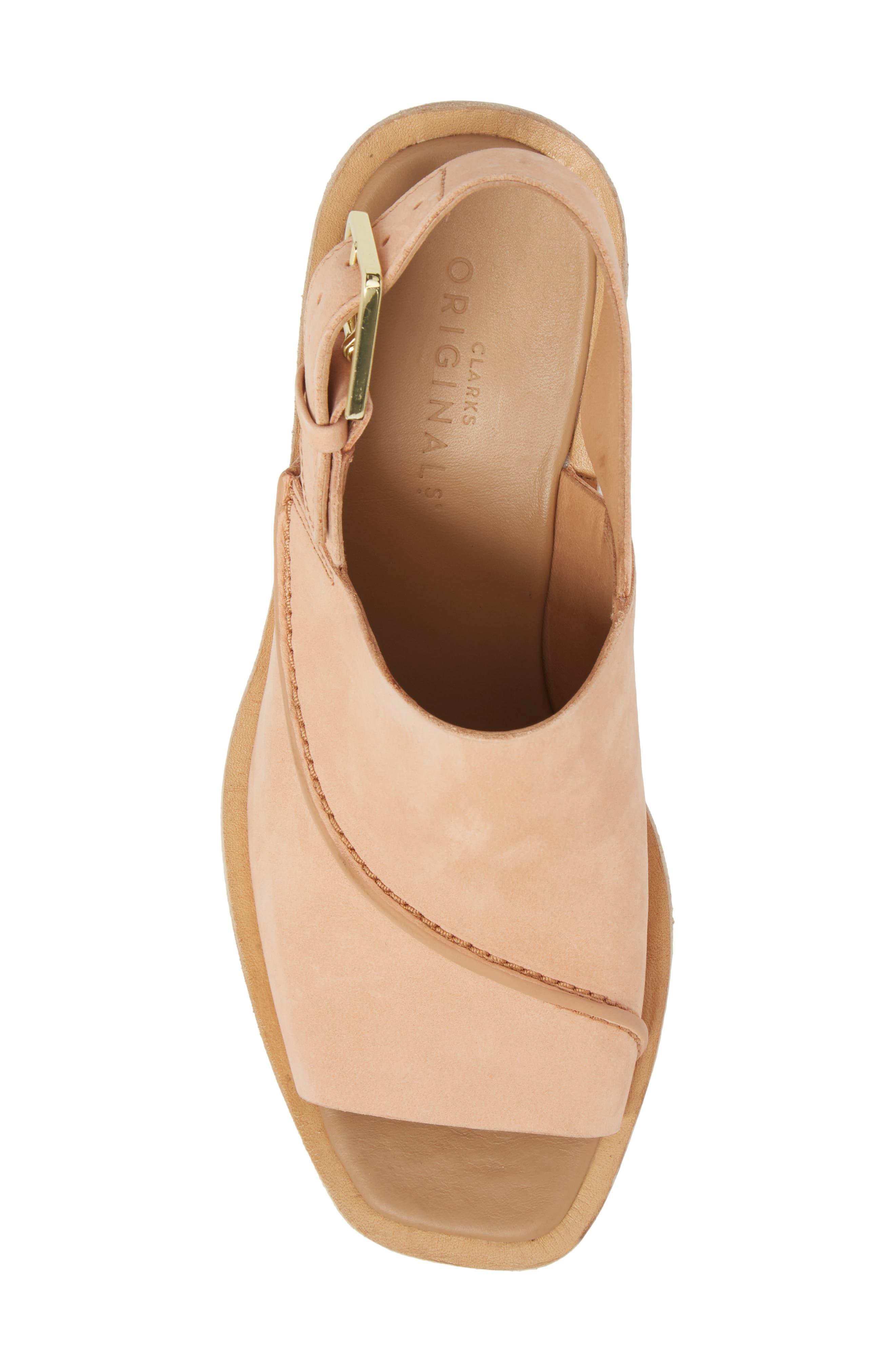 Clarks Bermudan Block Heel Sandal,                             Alternate thumbnail 5, color,                             Sandstone Nubuck Leather
