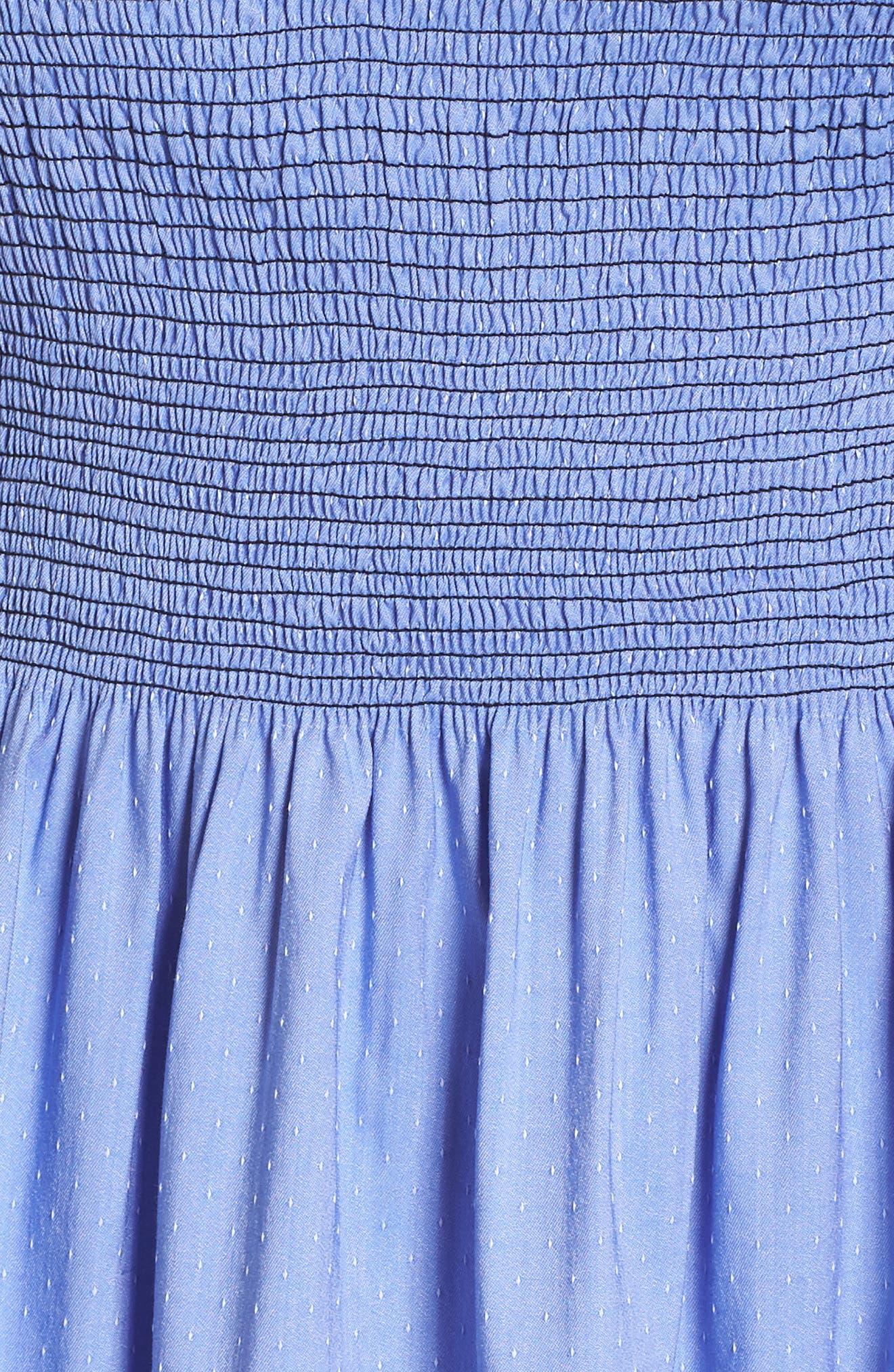 Off the Shoulder Smocked Bodice Midi Dress,                             Alternate thumbnail 6, color,                             Blue Ivory Swiss Dot