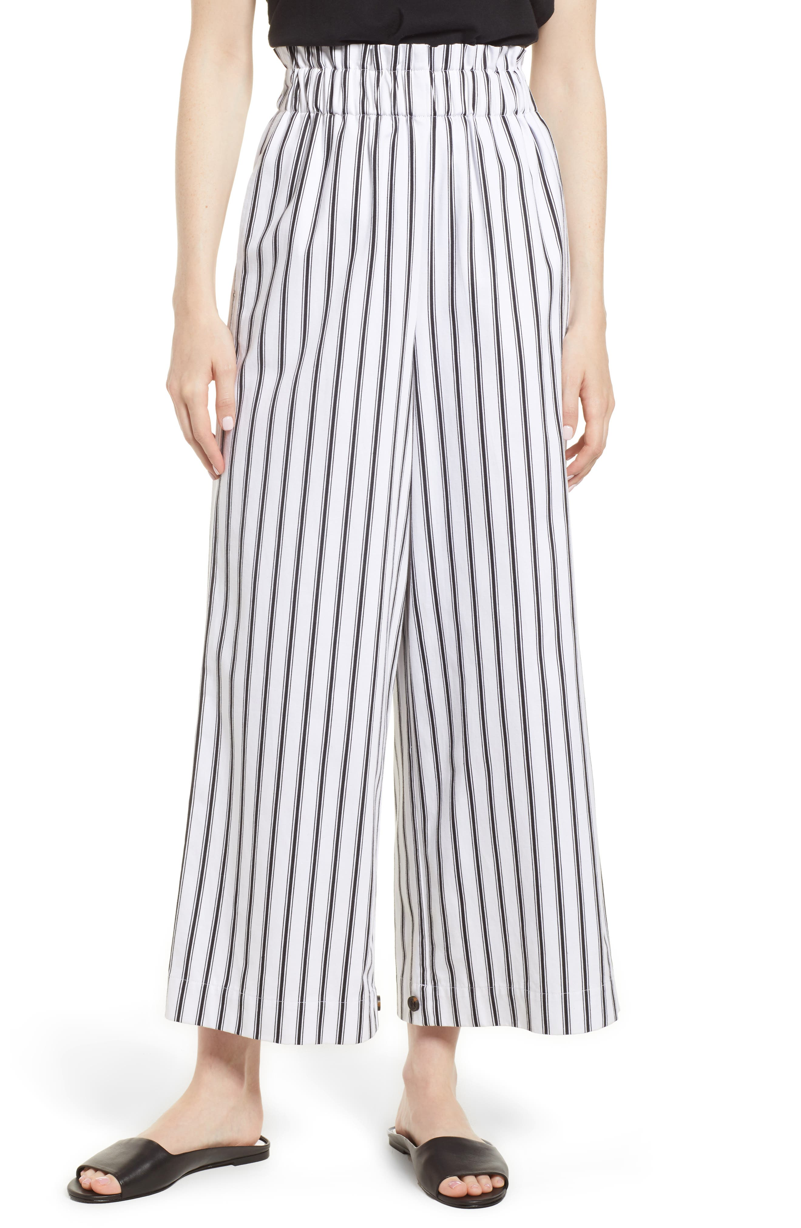 High Waist Convertible Wide Leg Pants,                             Alternate thumbnail 4, color,                             Black/ White Striped