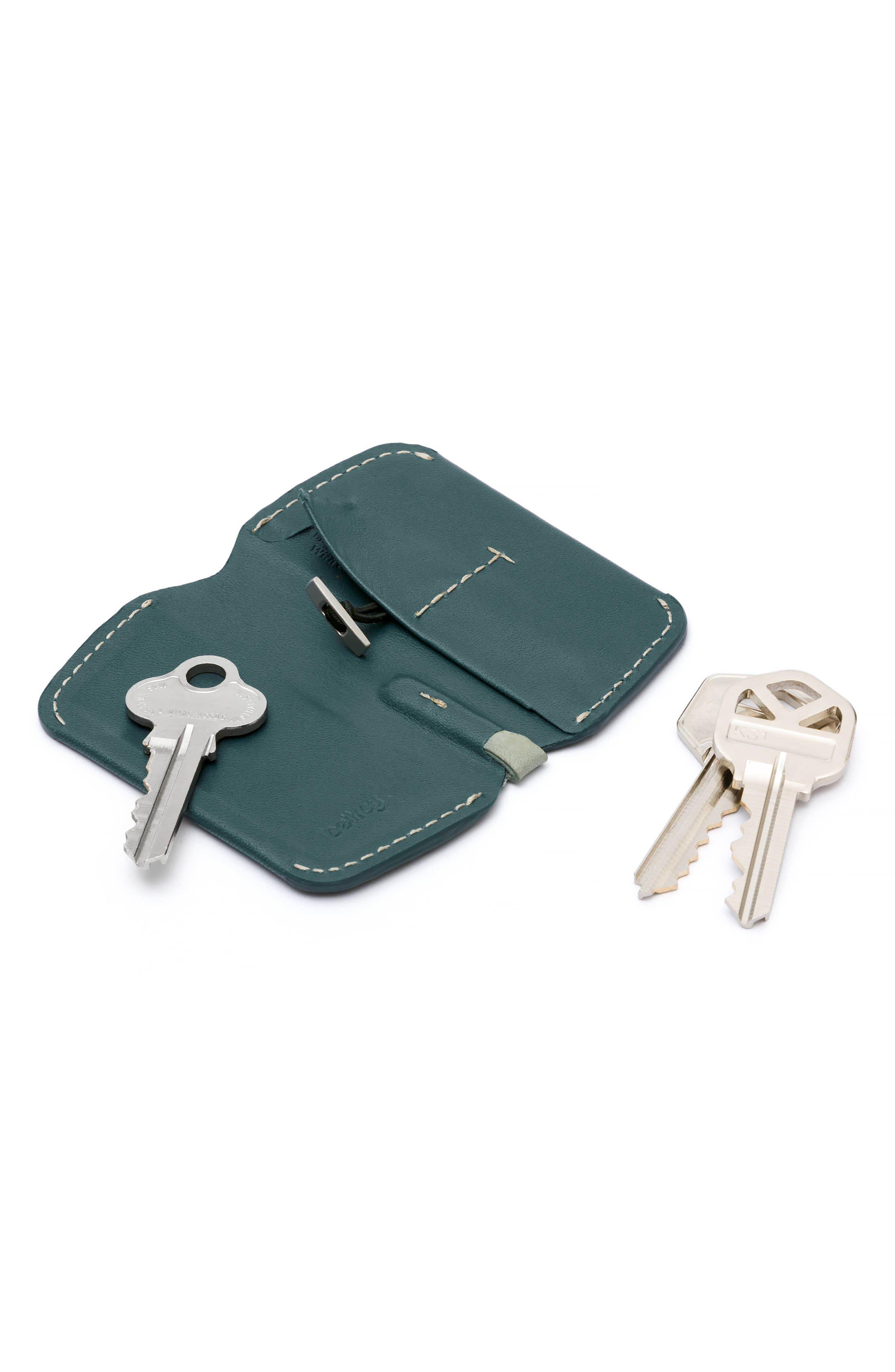 Leather Key Cover,                             Alternate thumbnail 3, color,                             Teal