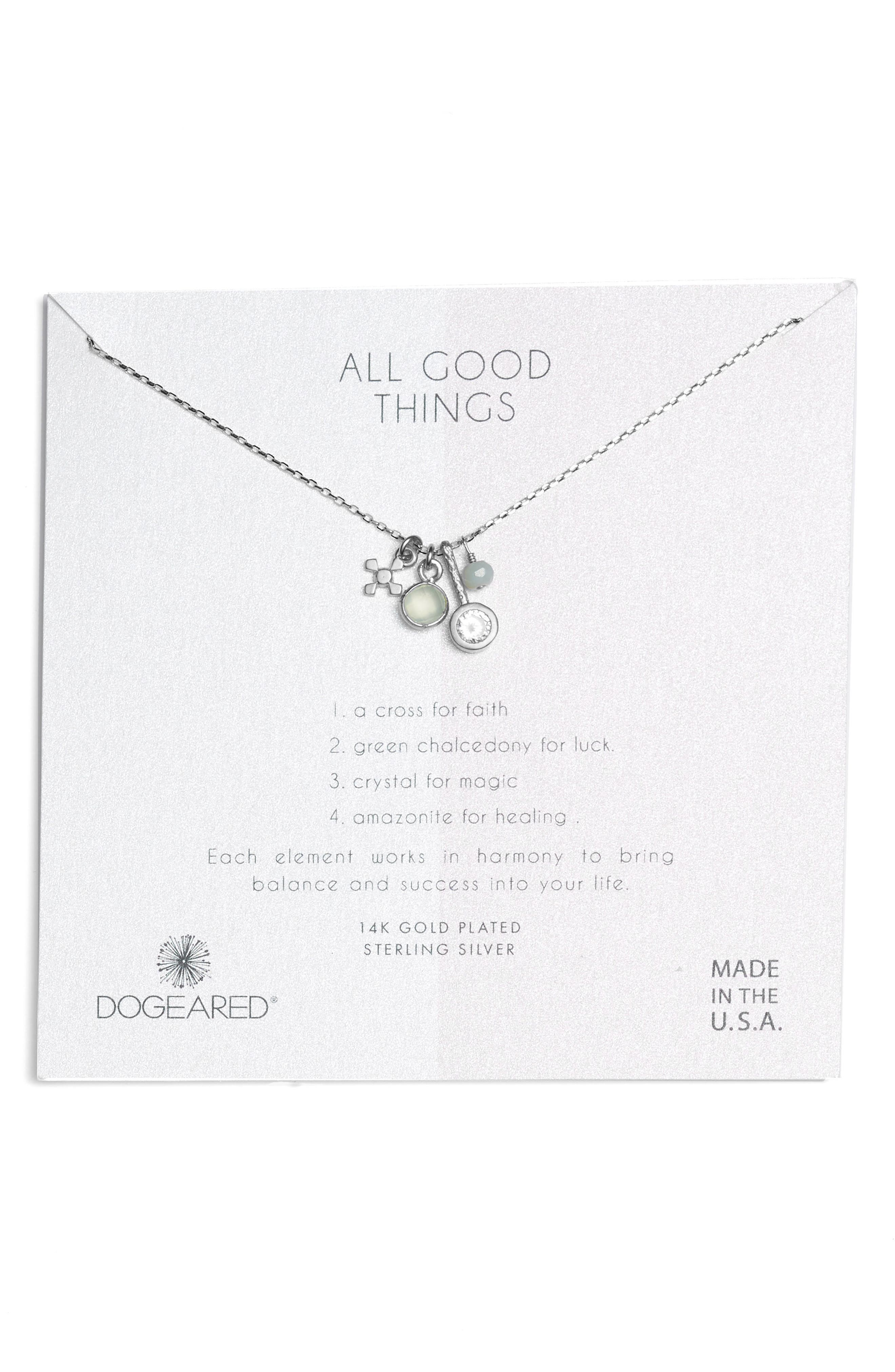 All Good Things Green Chalcedony Pendant Necklace,                         Main,                         color, Silver