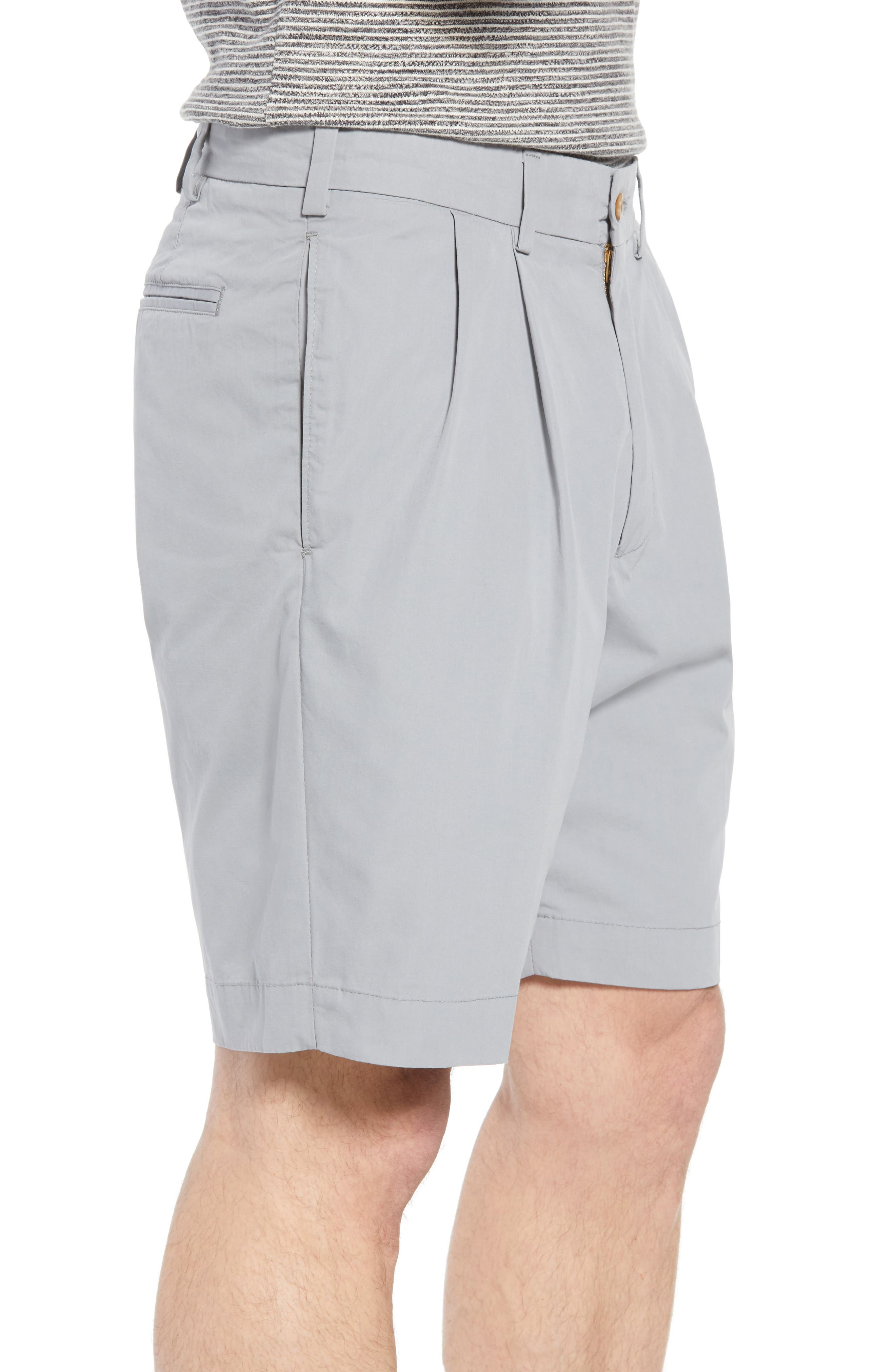 M2 Classic Fit Pleated Tropical Cotton Poplin Shorts,                             Alternate thumbnail 3, color,                             Nickel