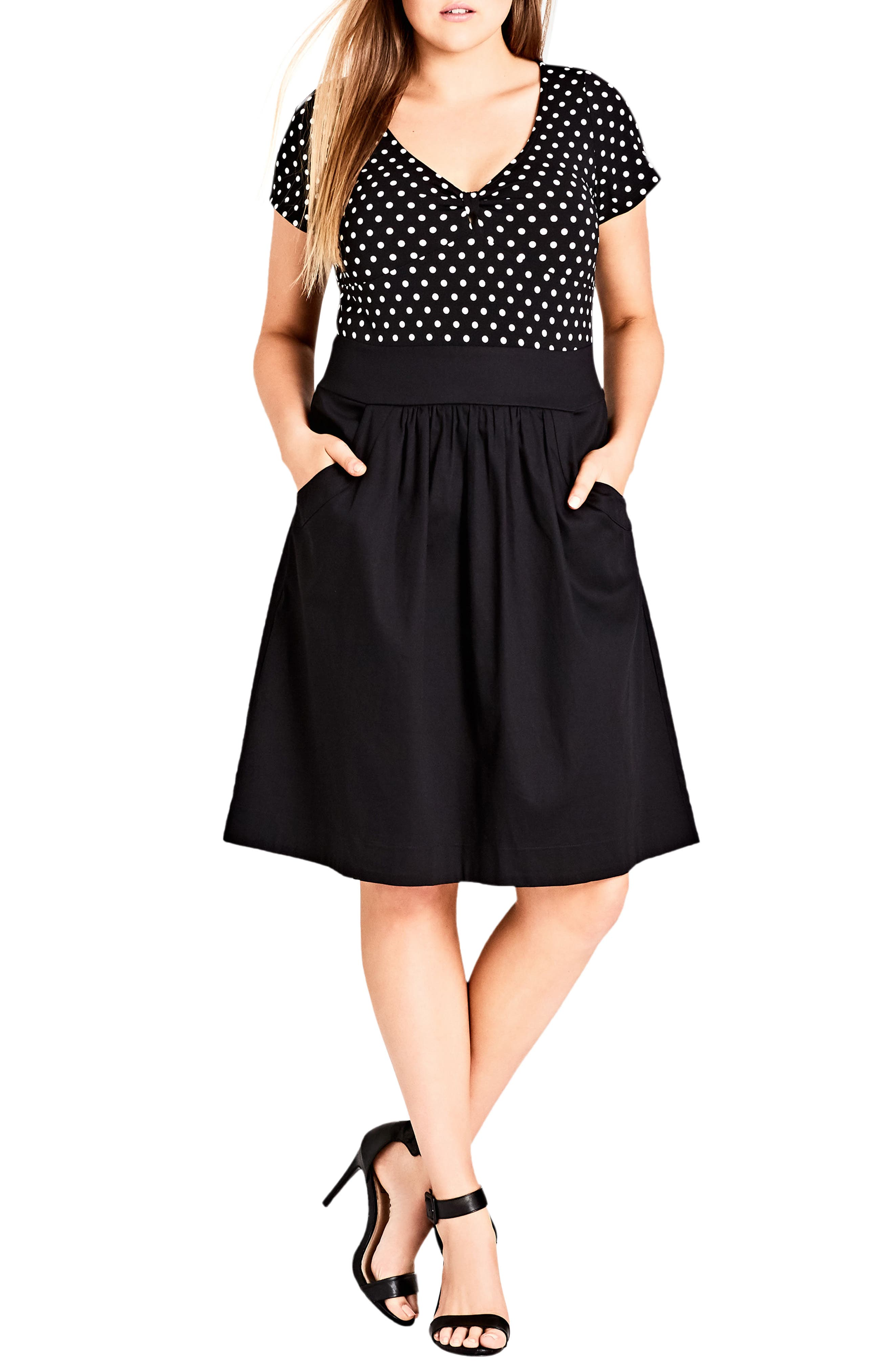 Nautical Spot Fit & Flare Dress,                             Main thumbnail 1, color,                             Black