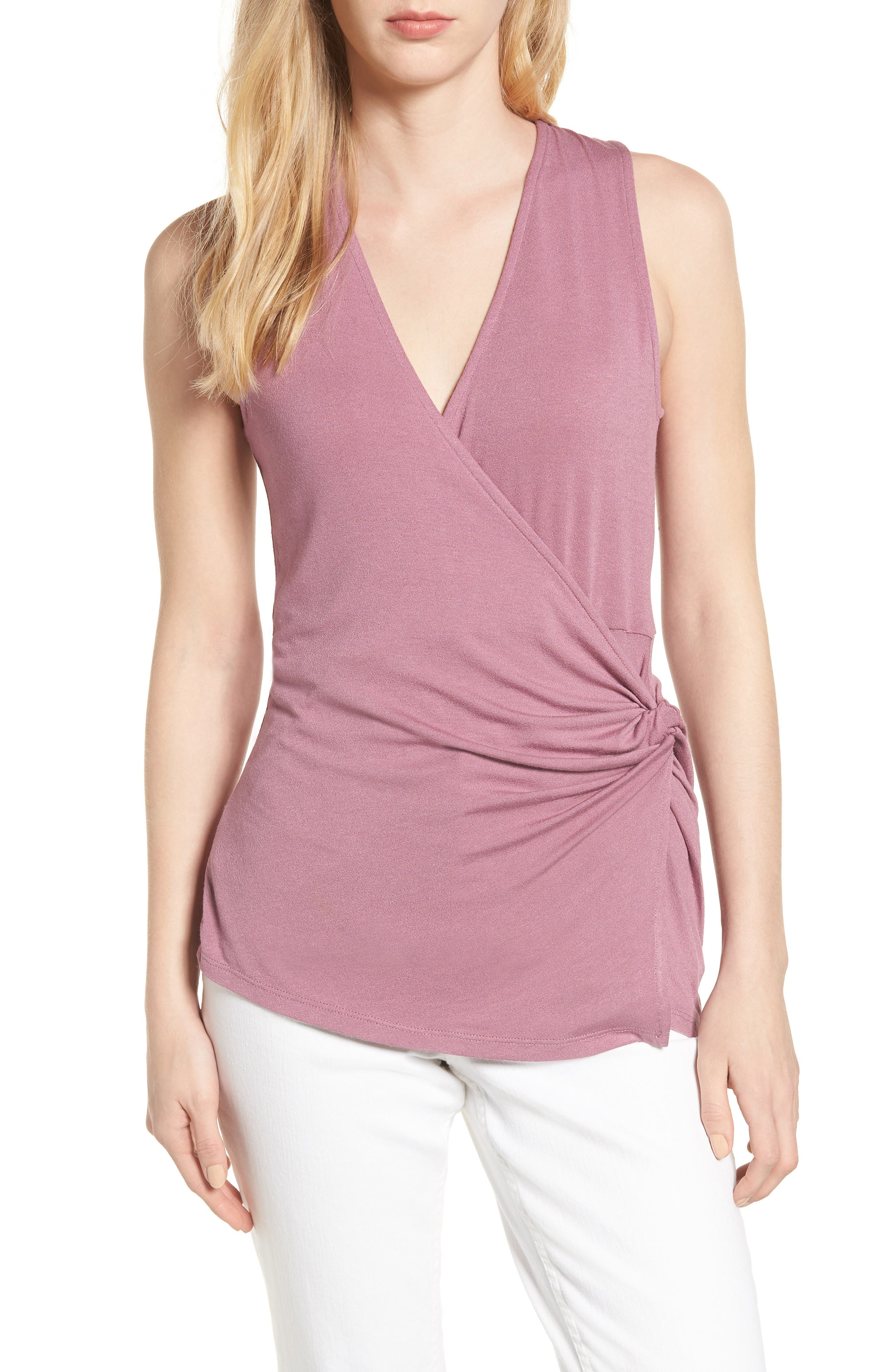 Side Knot Ruched Tank Top,                         Main,                         color, Mauve