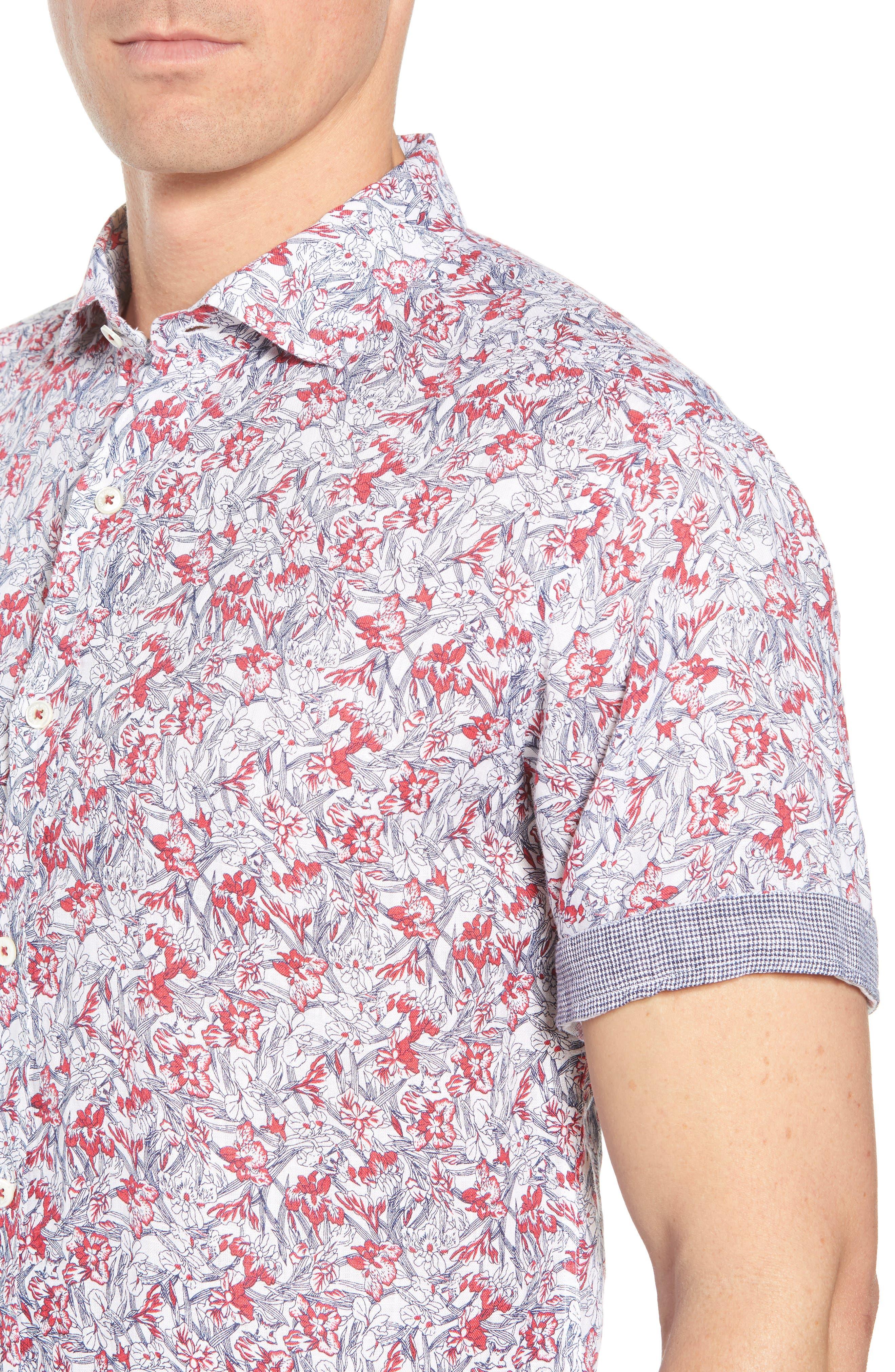 Shaped Fit Print Linen Sport Shirt,                             Alternate thumbnail 2, color,                             Pimento