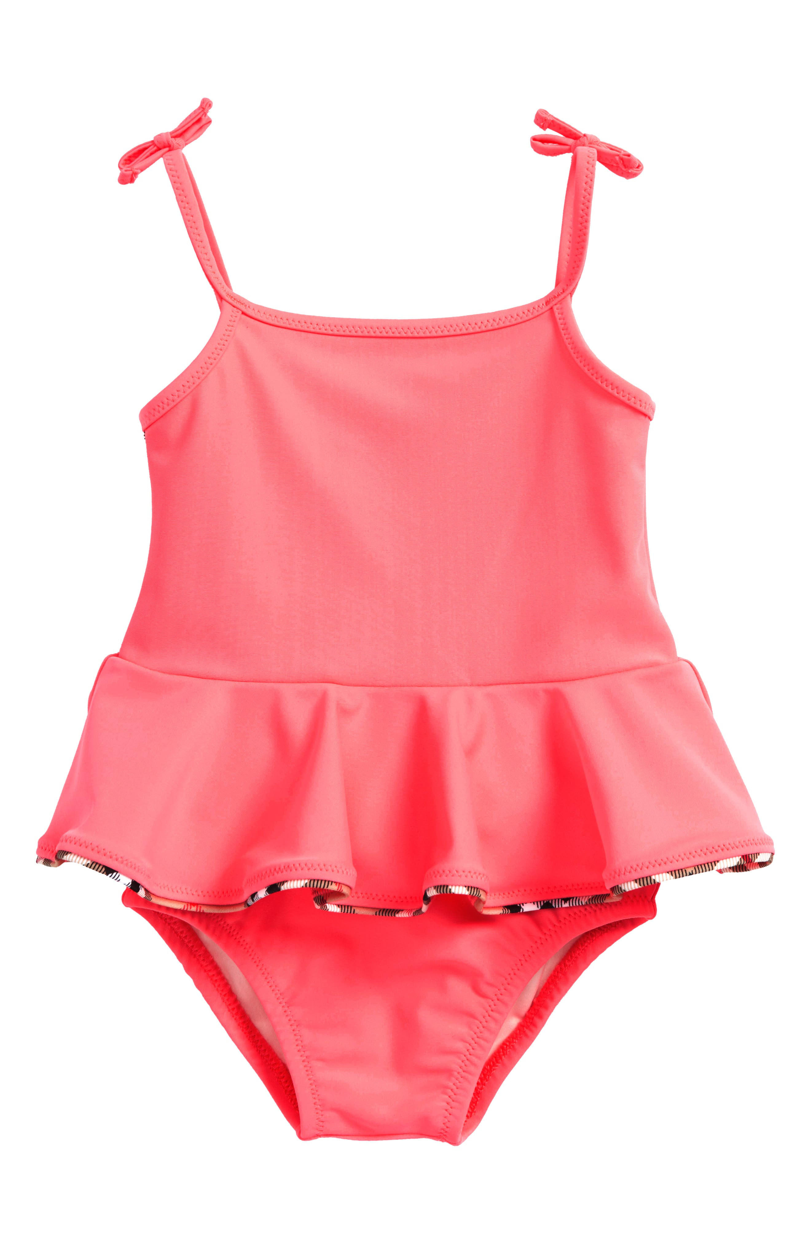 Ludine Skirted One-Piece Swimsuit,                         Main,                         color, Bright Coral