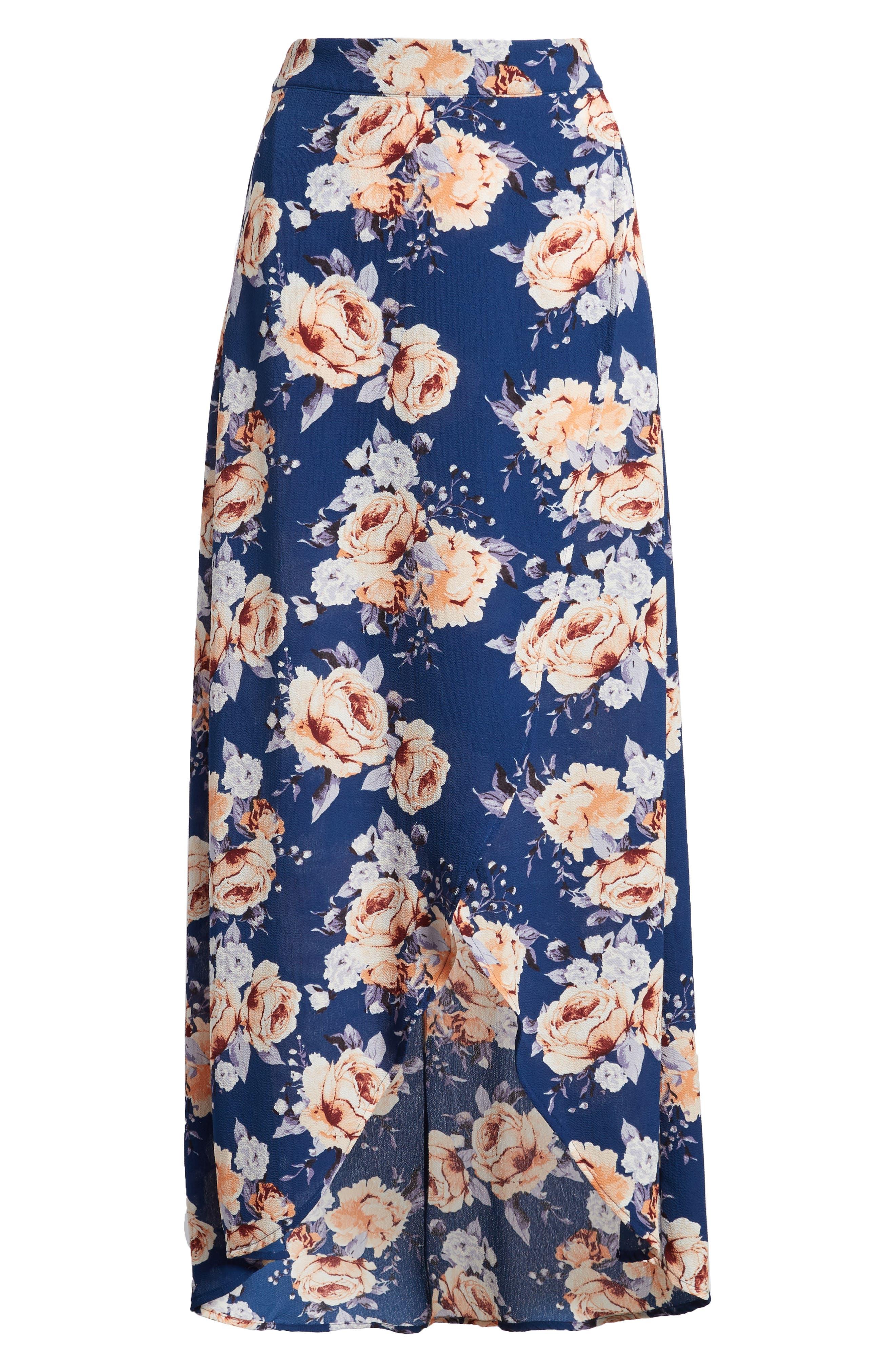Floral Print Maxi Skirt,                             Alternate thumbnail 6, color,                             Blue Floral