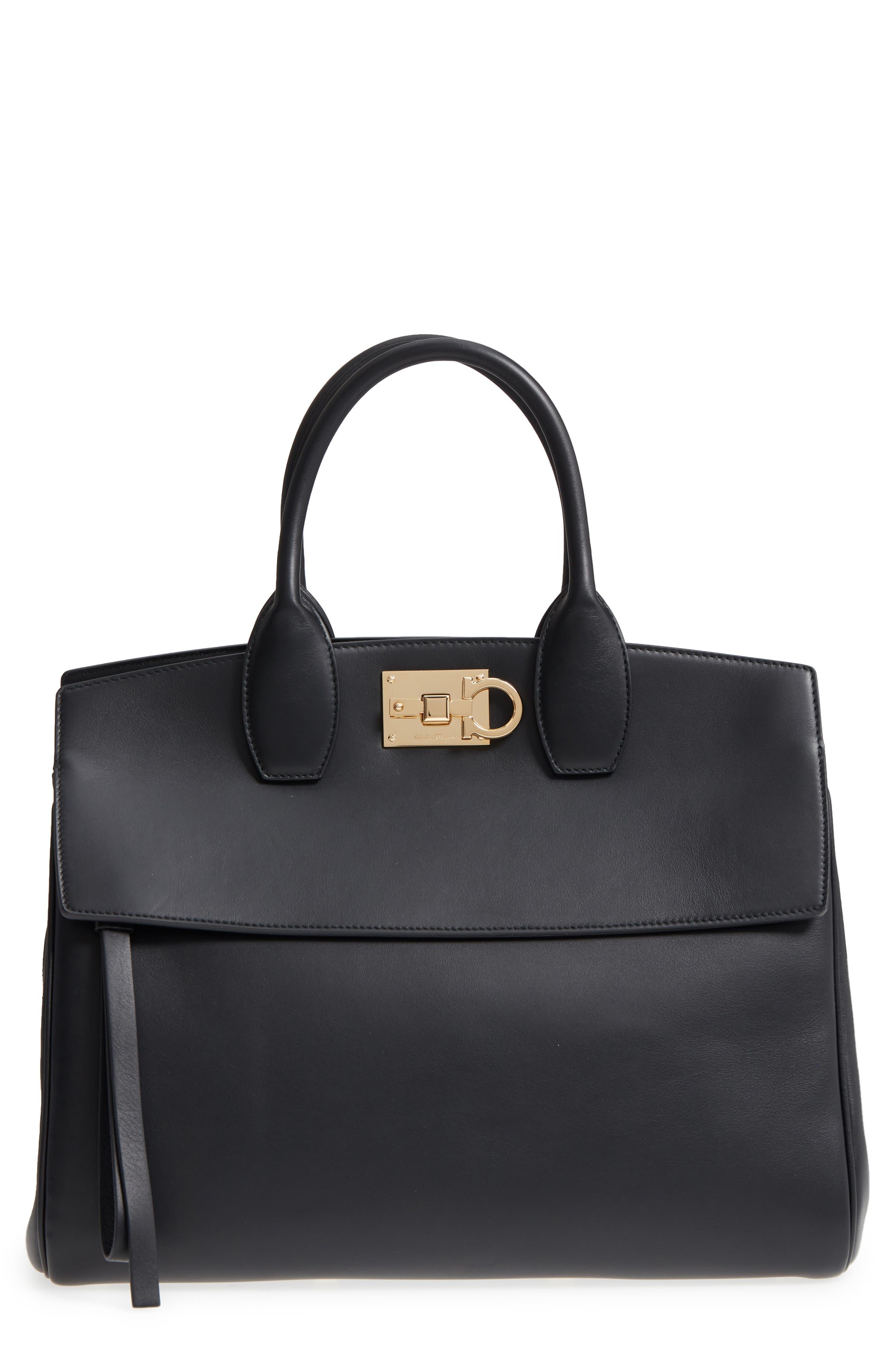Salvatore Ferragamo Studio Calfskin Leather Top Handle Tote
