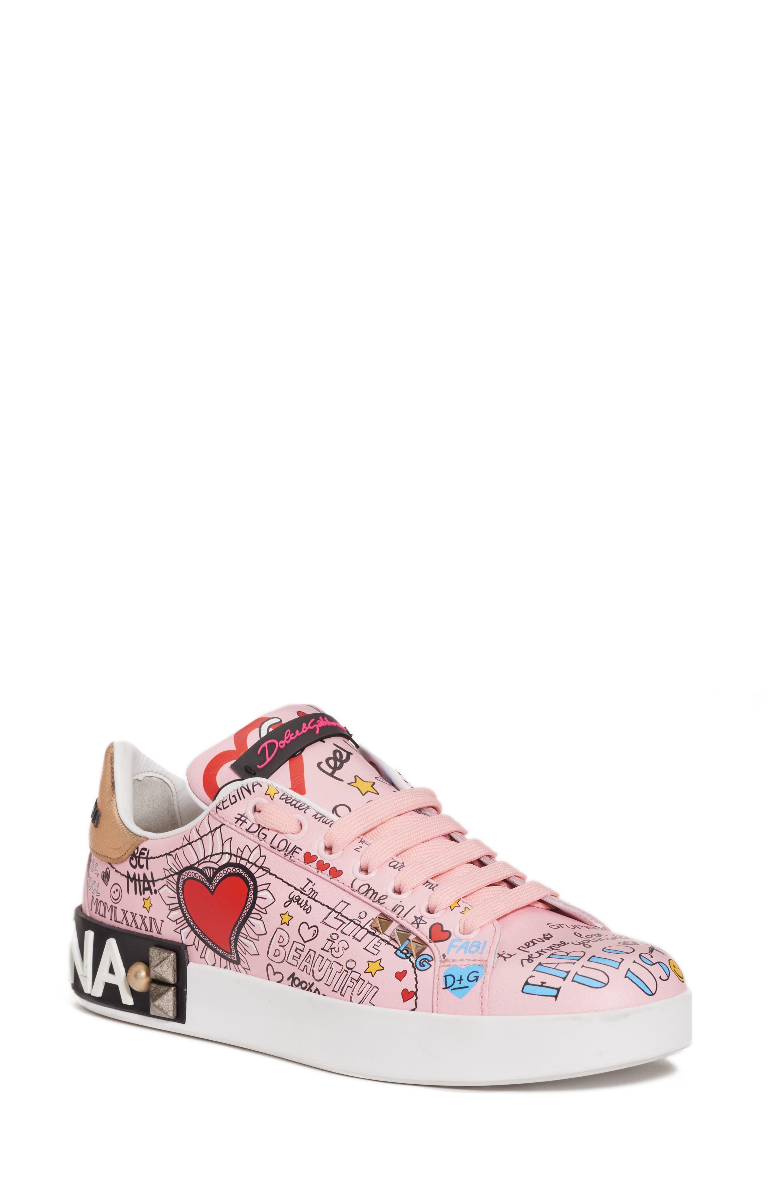 Mural Graffiti Sneaker,                             Main thumbnail 1, color,                             Pink