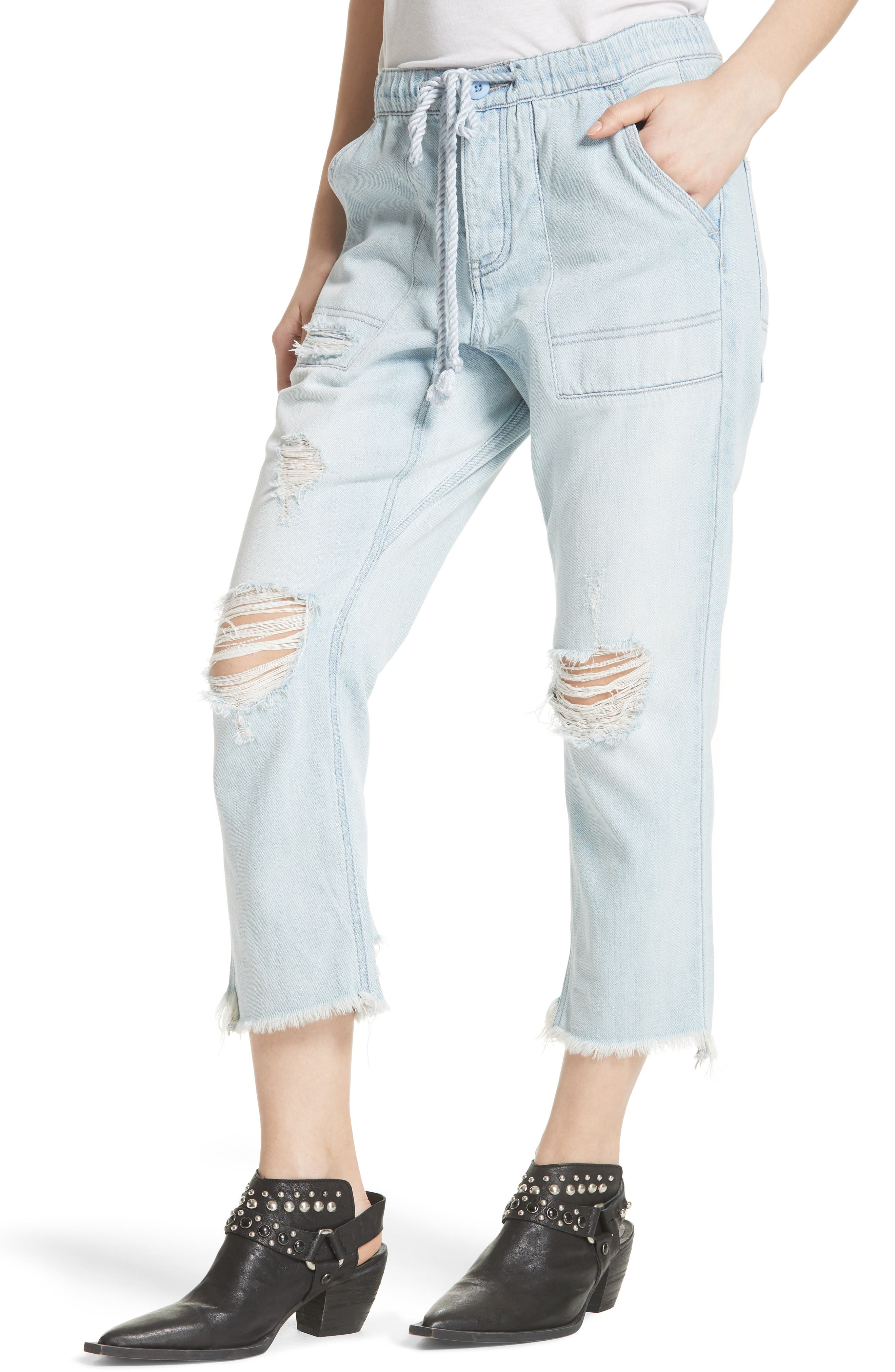 Northern Sky Ripped Crop Jeans,                             Alternate thumbnail 4, color,                             Blue