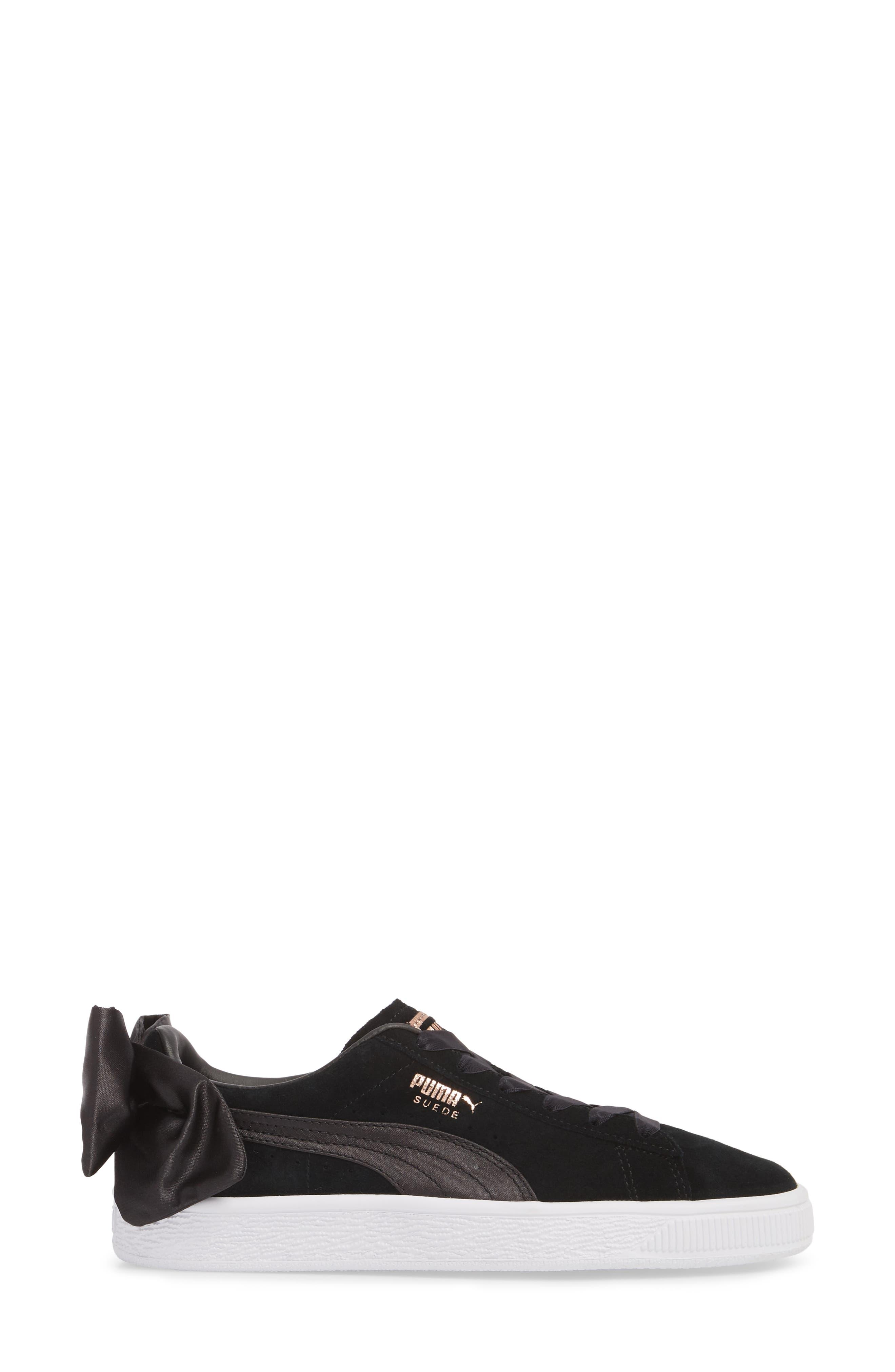 Bow Sneaker,                             Alternate thumbnail 3, color,                             Black/ Black
