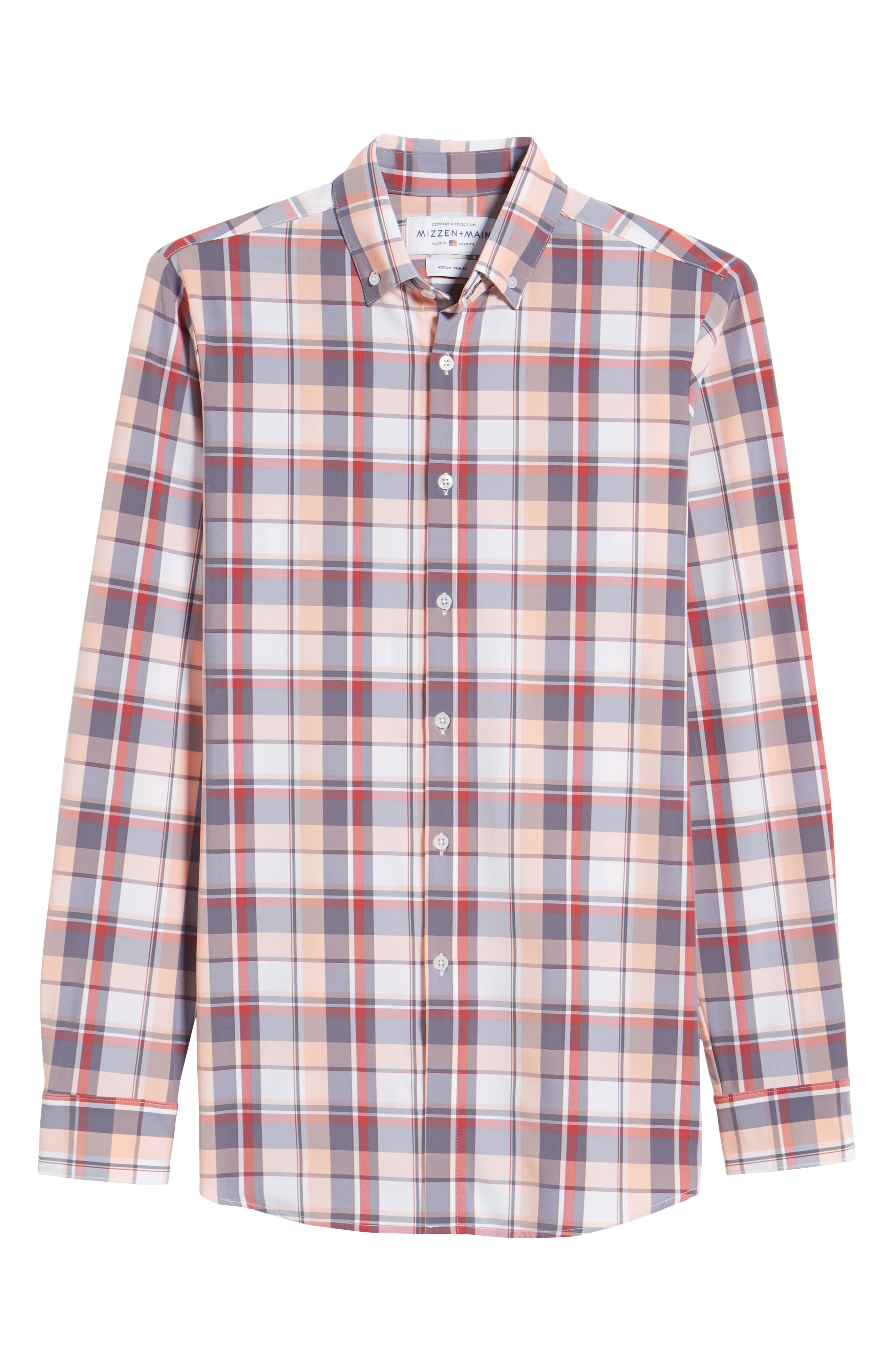 Brazos Slim Fit Madras Plaid Performance Sport Shirt,                             Alternate thumbnail 6, color,                             Peach