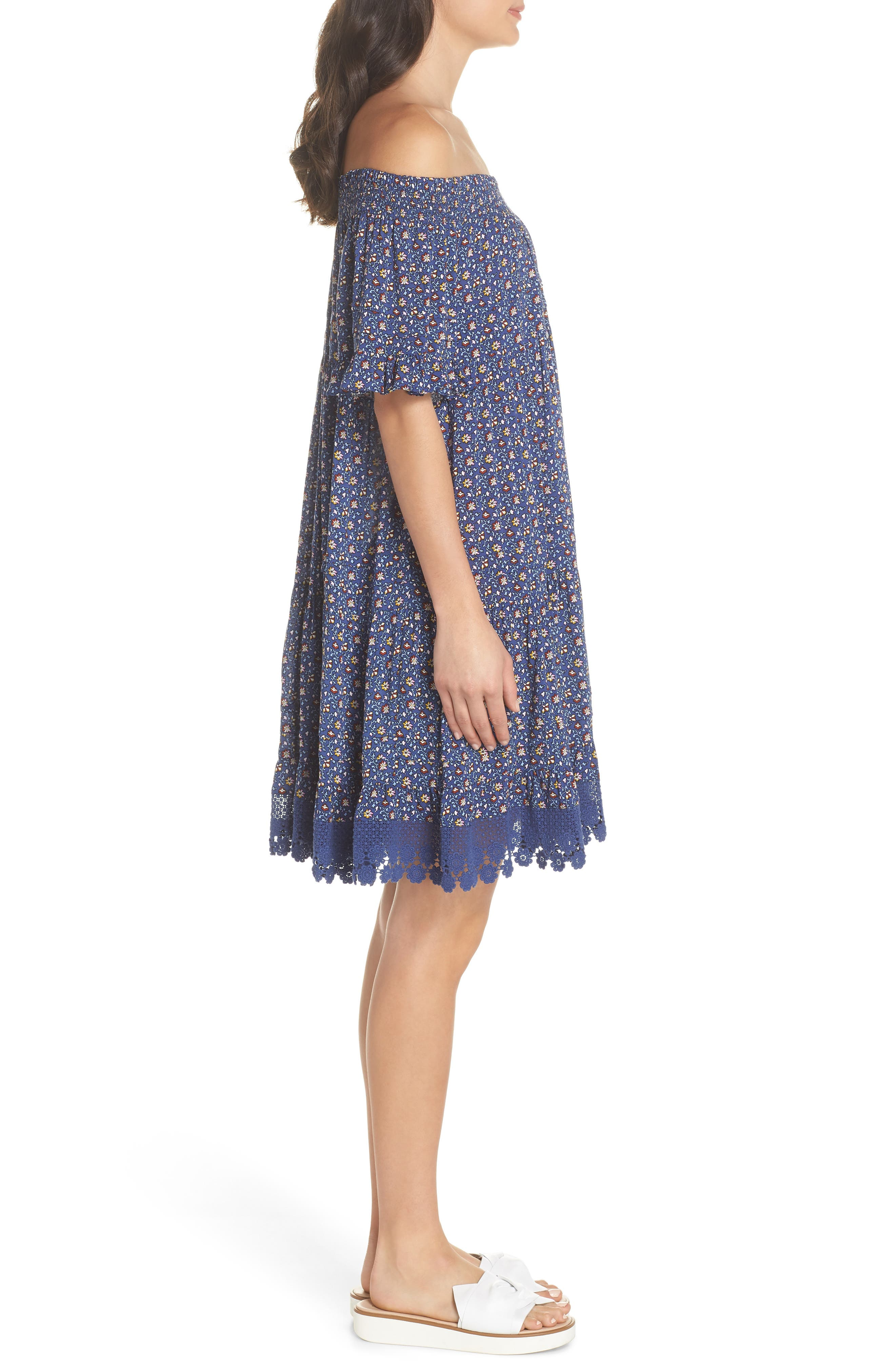 Wild Pansy Off the Shoulder Cover-Up Dress,                             Alternate thumbnail 3, color,                             Navy Wild Pansy