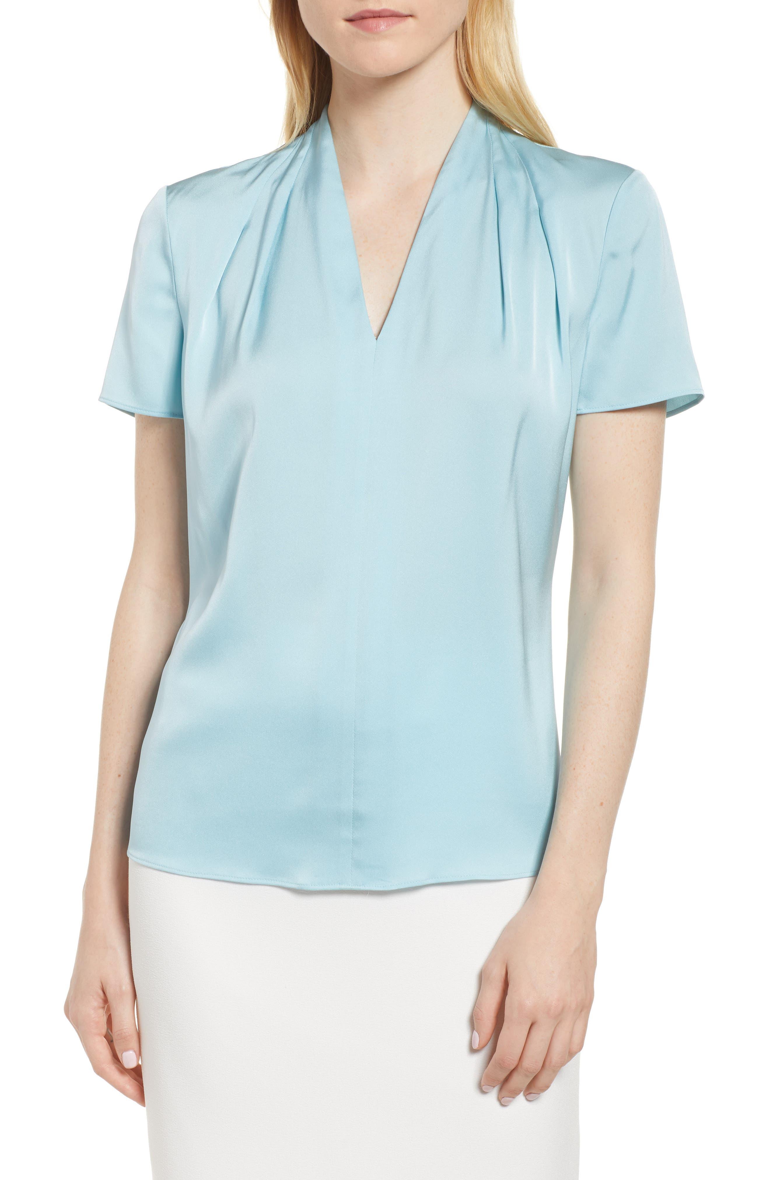 Insina Stretch Silk Blouse,                             Main thumbnail 1, color,                             Lagoon Blue