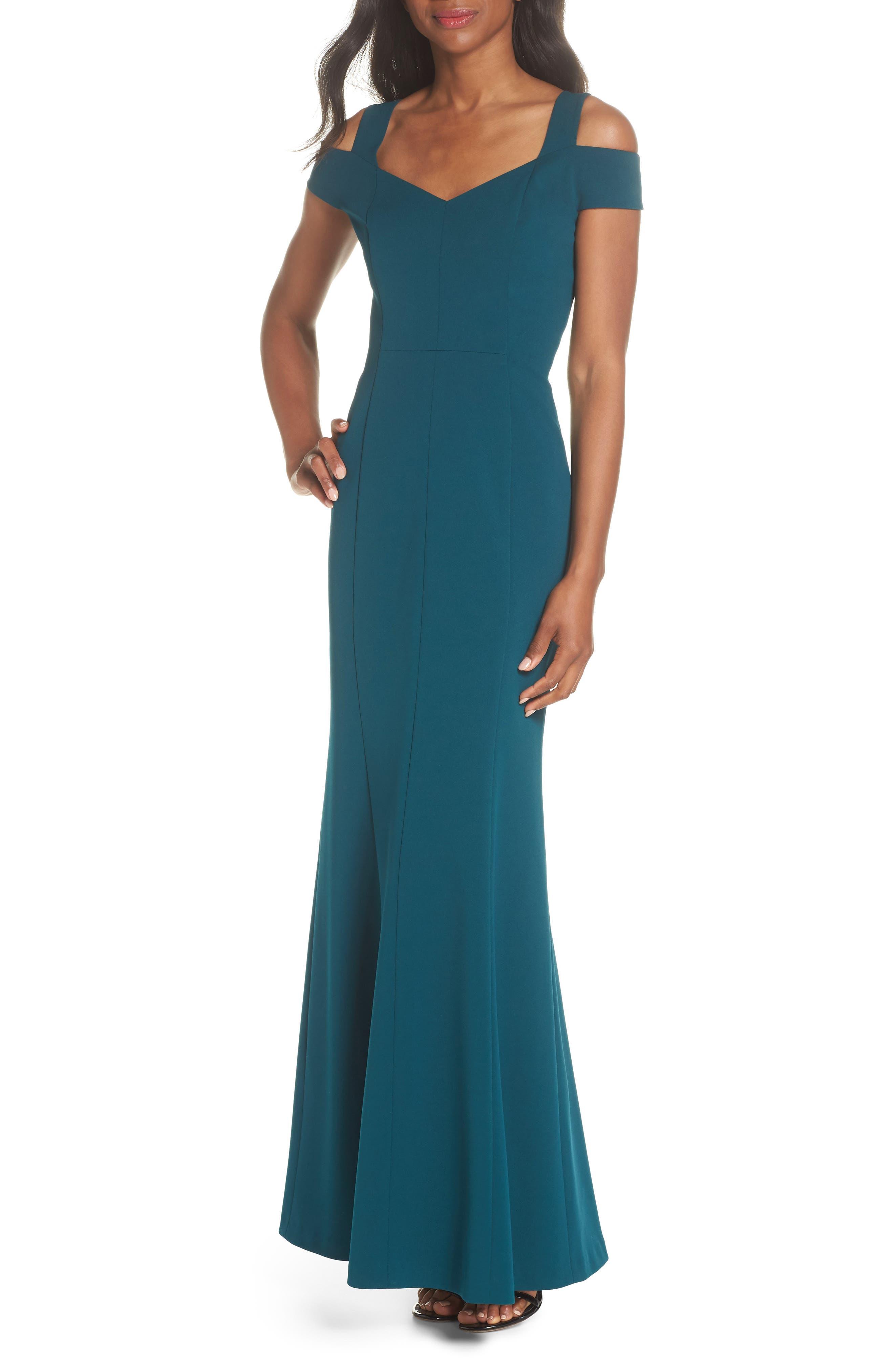 Cold Shoulder Scuba Crepe Trumpet Gown,                         Main,                         color, Emerald