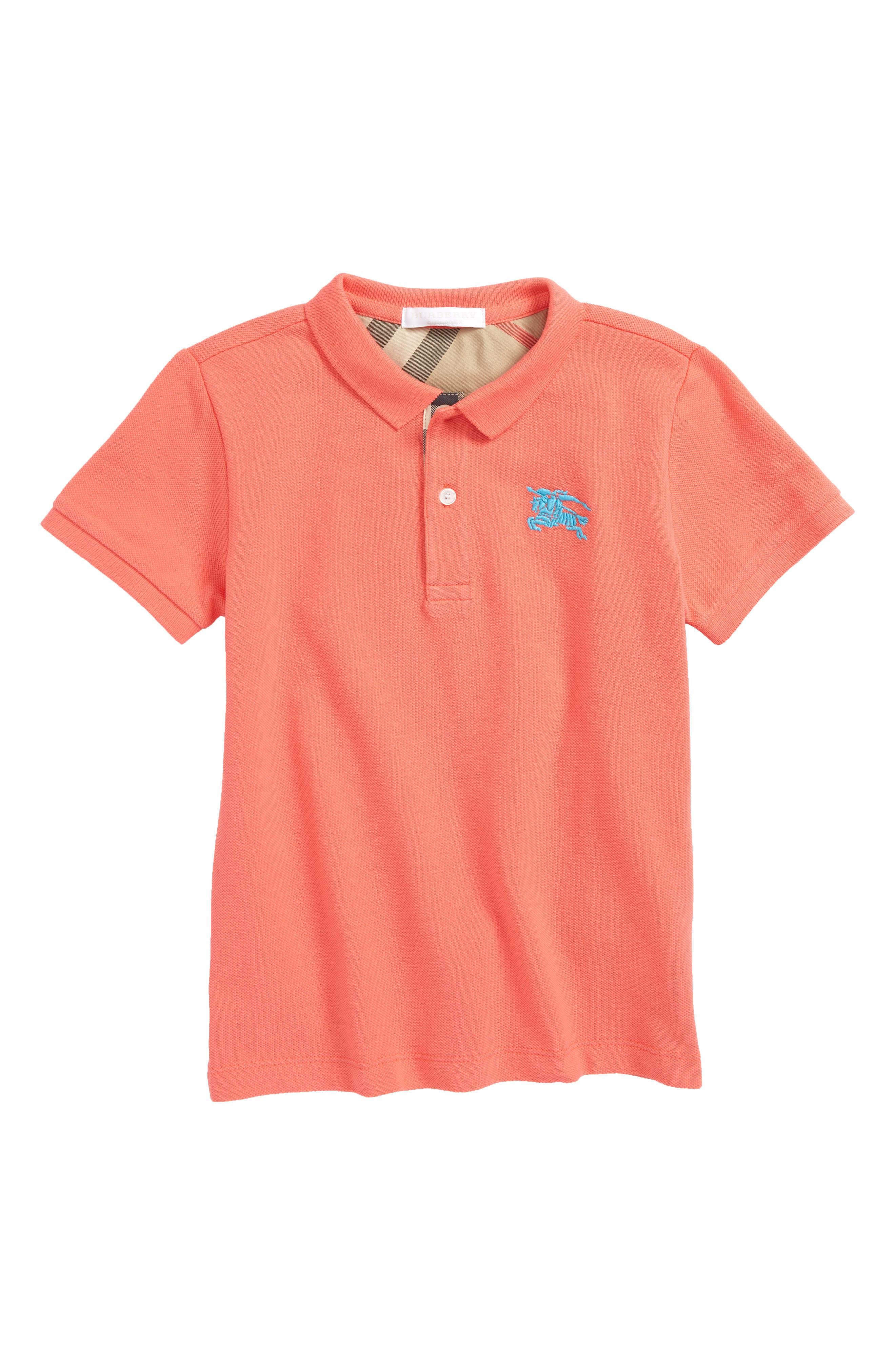 Cotton Piqué Polo,                             Main thumbnail 1, color,                             Bright Coral Pink