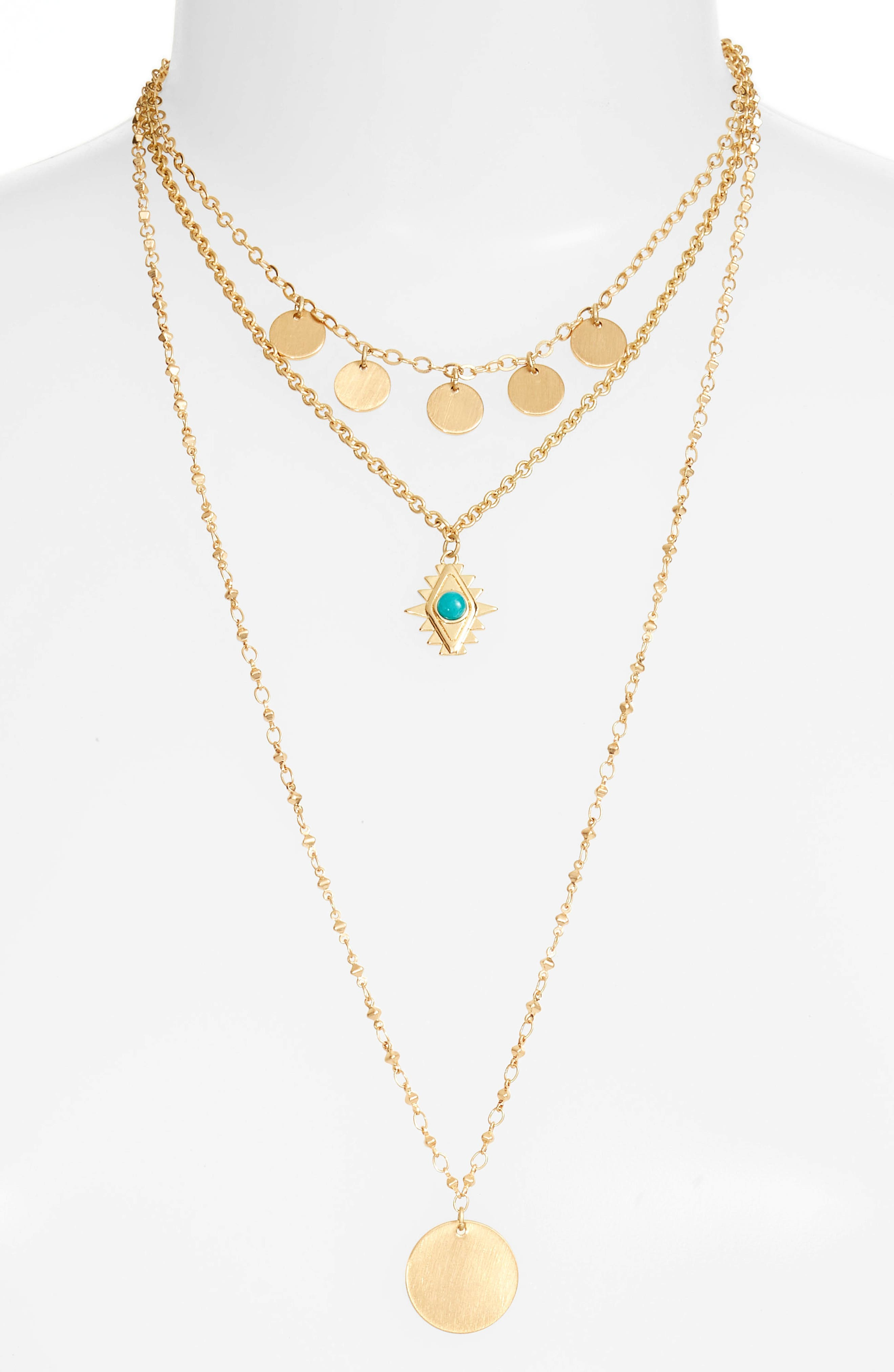 Triple Layer Charm Necklace,                             Main thumbnail 1, color,                             Gold