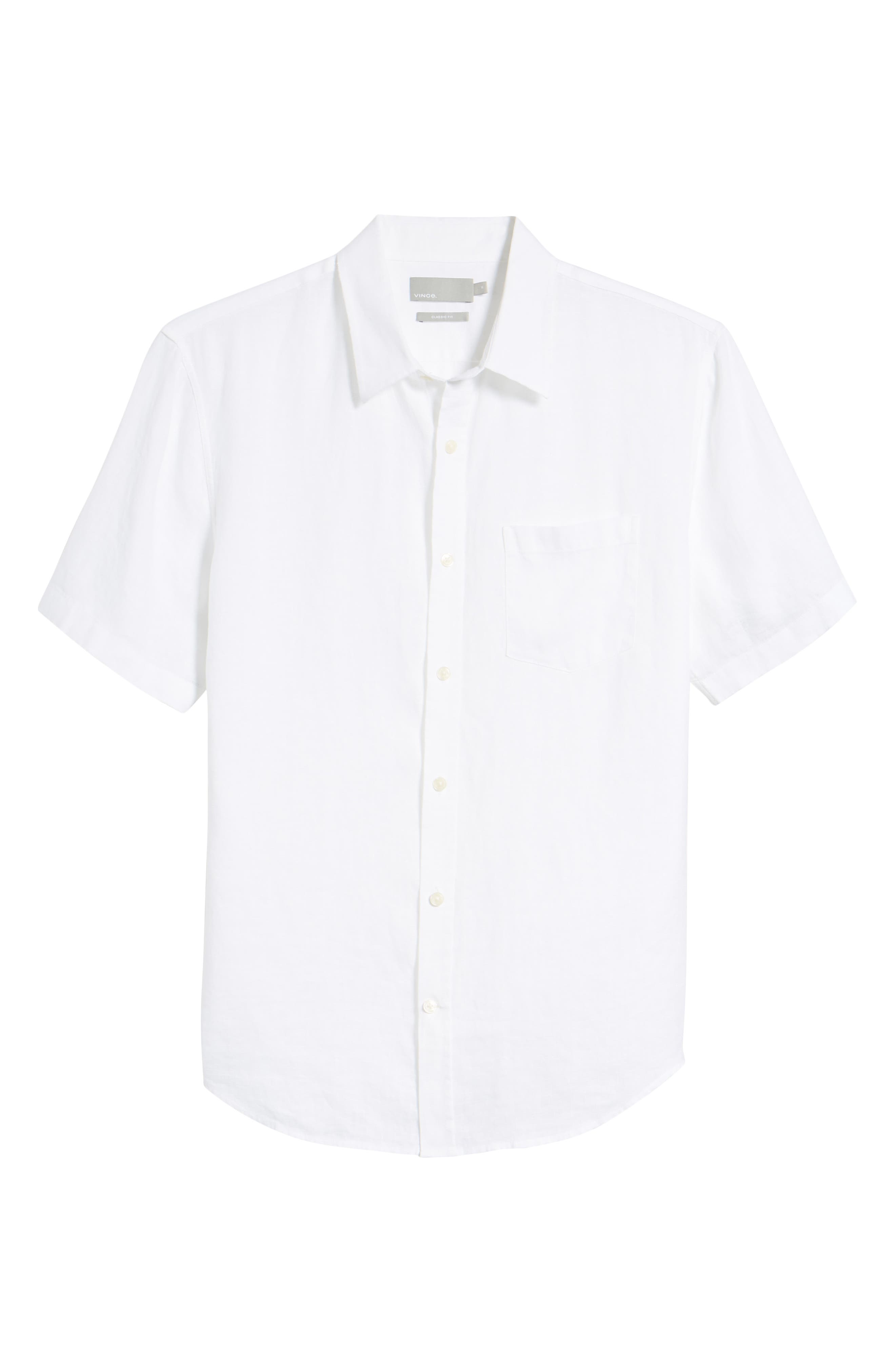 Classic Fit Washed Short Sleeve Sport Shirt,                             Alternate thumbnail 6, color,                             Optic White