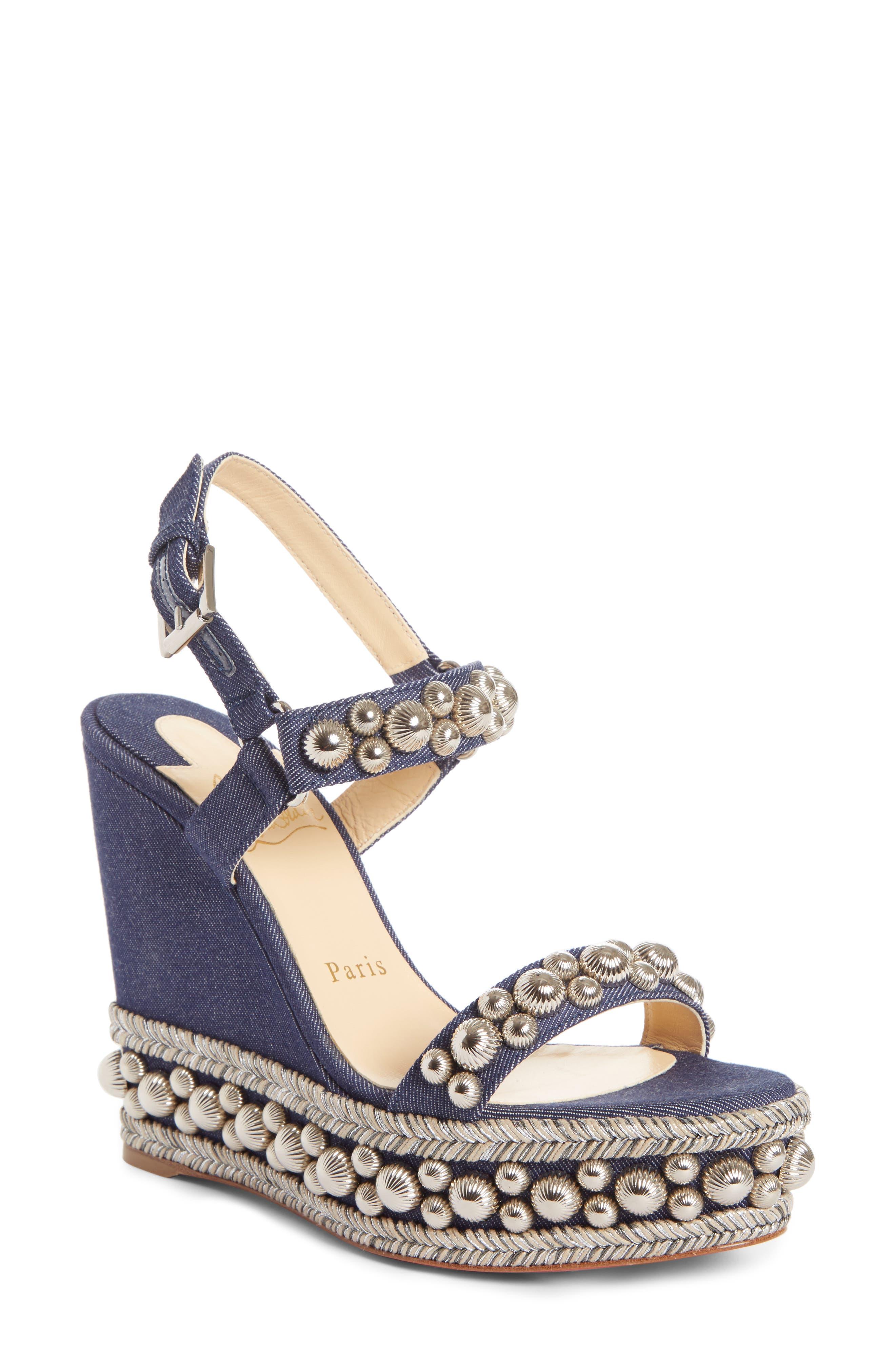 Rondaclou Studded Wedge Sandal,                         Main,                         color, Denim Blue