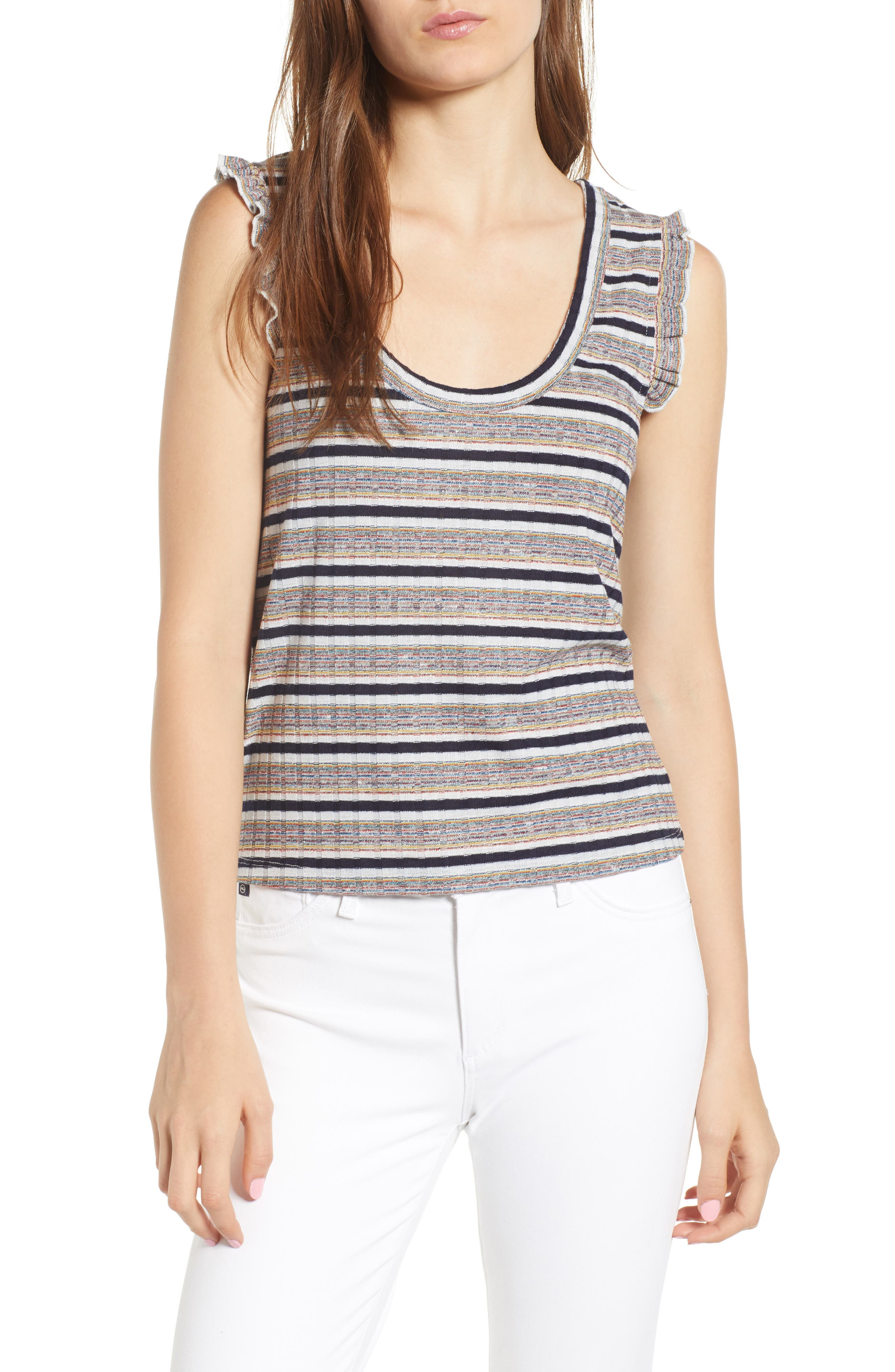 Brittney Mixed Stripe Tank,                         Main,                         color, Ivory