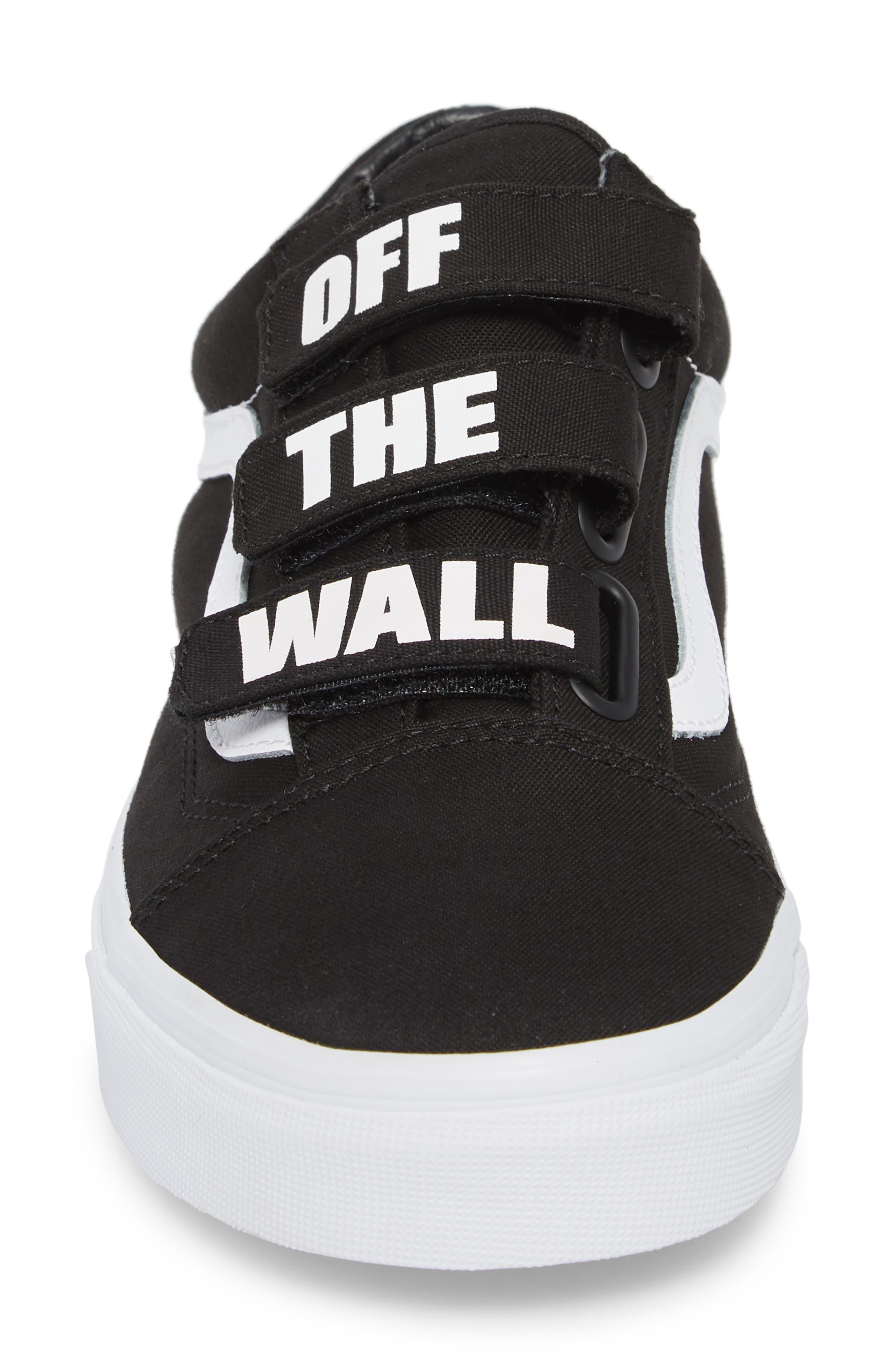 Off the Wall Old Skool V Sneaker,                             Alternate thumbnail 4, color,                             Black/ True White