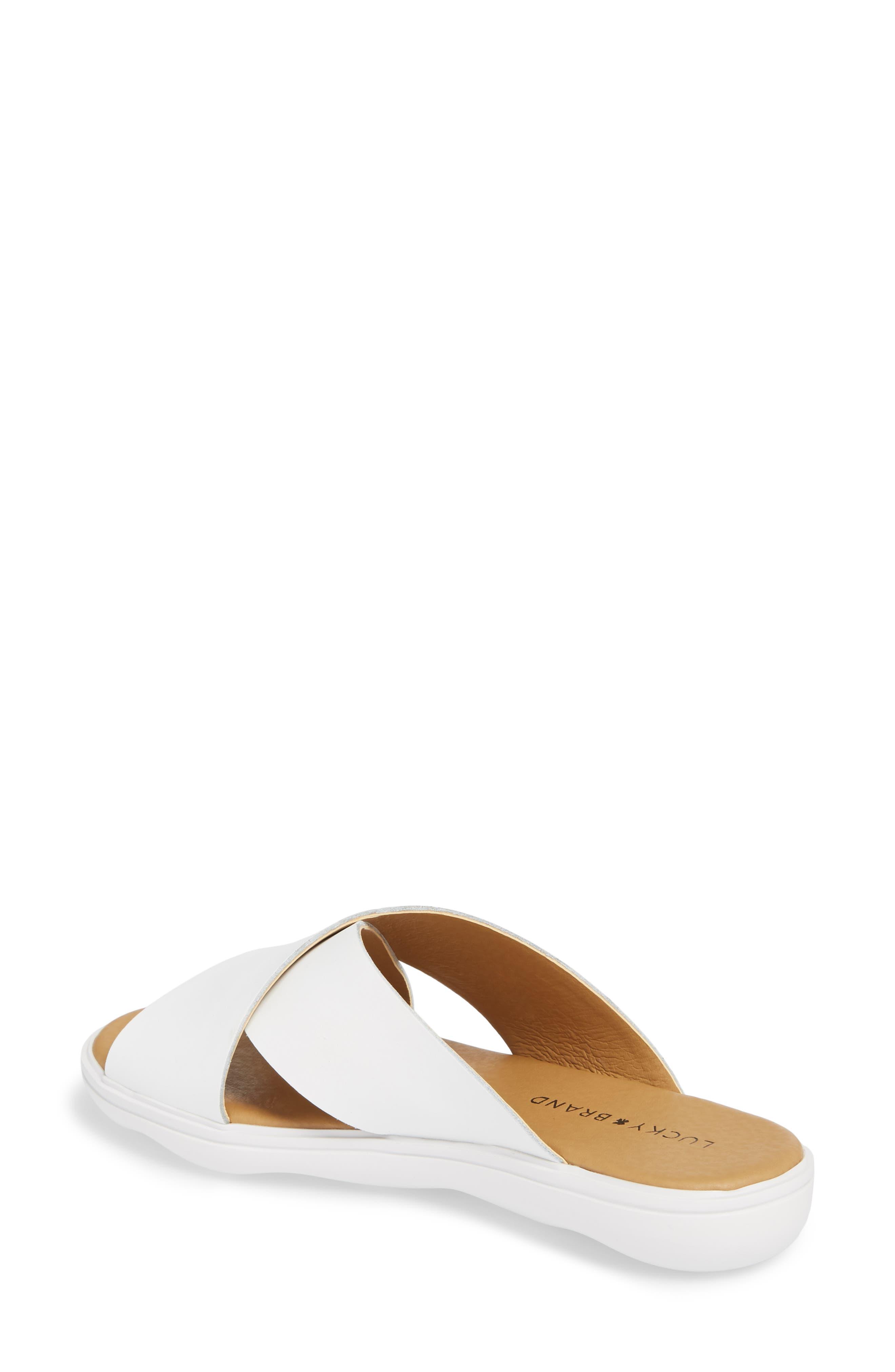 Mahlay Slide Sandal,                             Alternate thumbnail 2, color,                             Optic White Leather