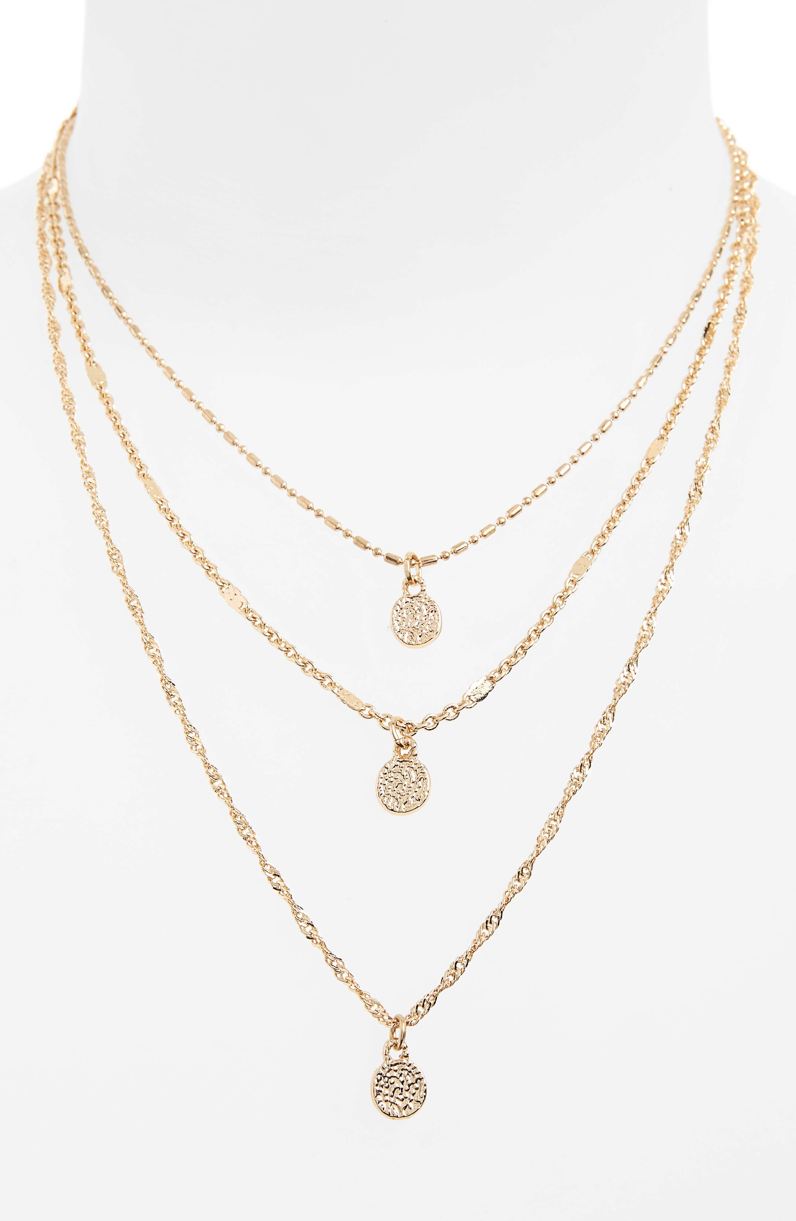 Triple Strand Circle Drop Necklace,                             Alternate thumbnail 2, color,                             Gold