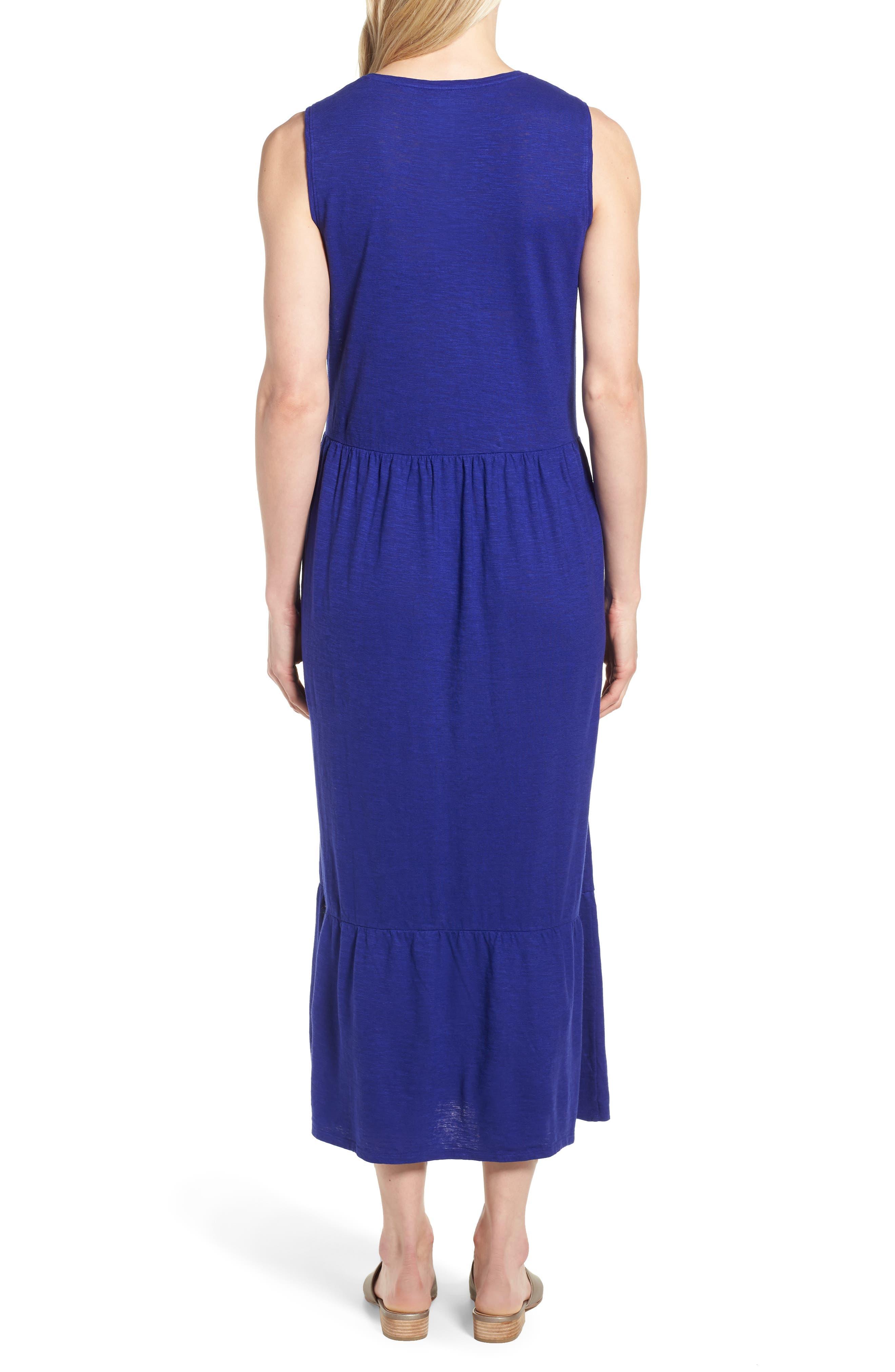 Scooped Neck Hemp & Cotton Midi Dress,                             Alternate thumbnail 2, color,                             Blue Violet