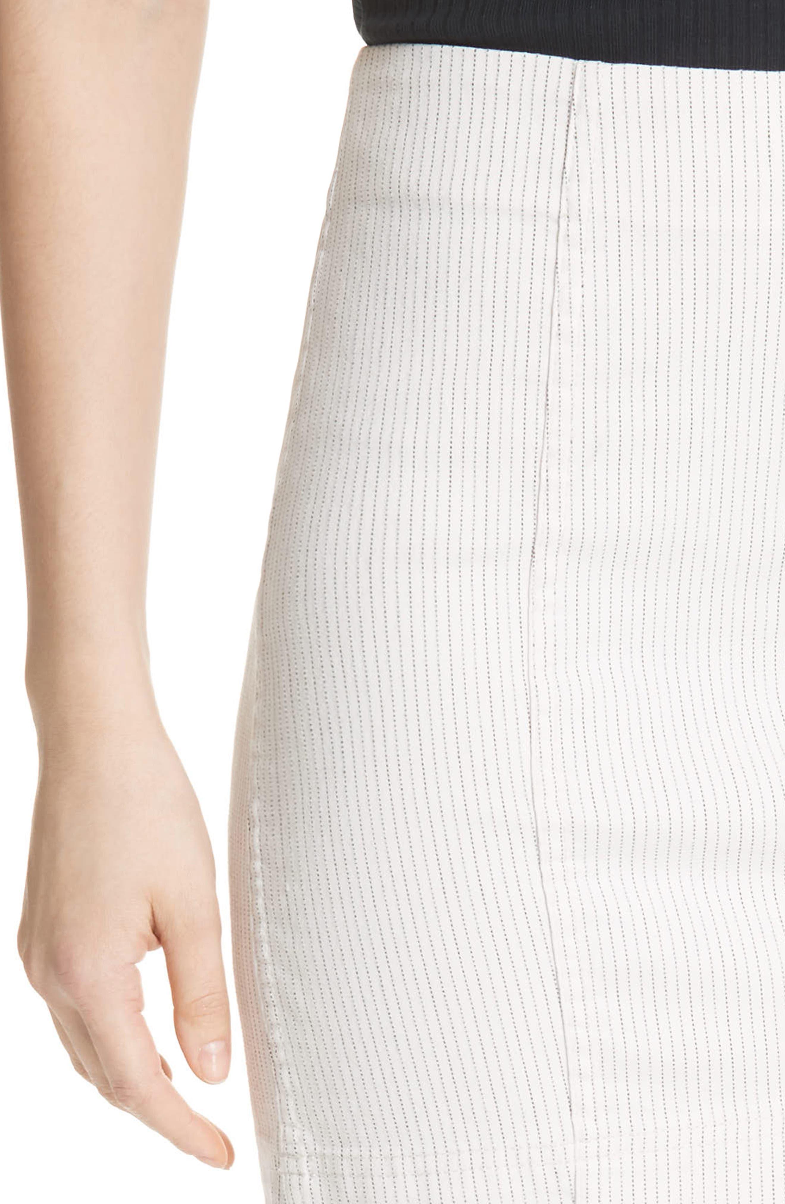 Modern Femme Pinstripe Skirt,                             Alternate thumbnail 4, color,                             Black And White Combo