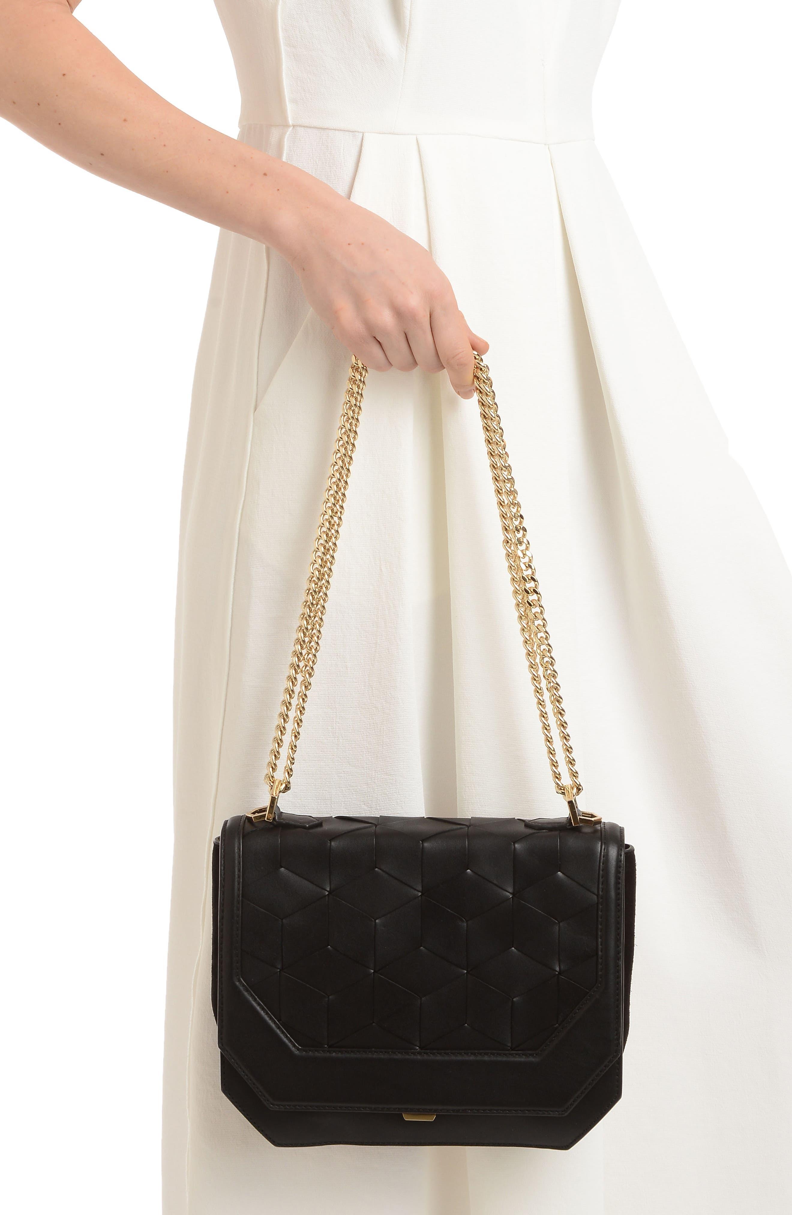 Supine Leather Shoulder Bag,                             Alternate thumbnail 2, color,                             Black