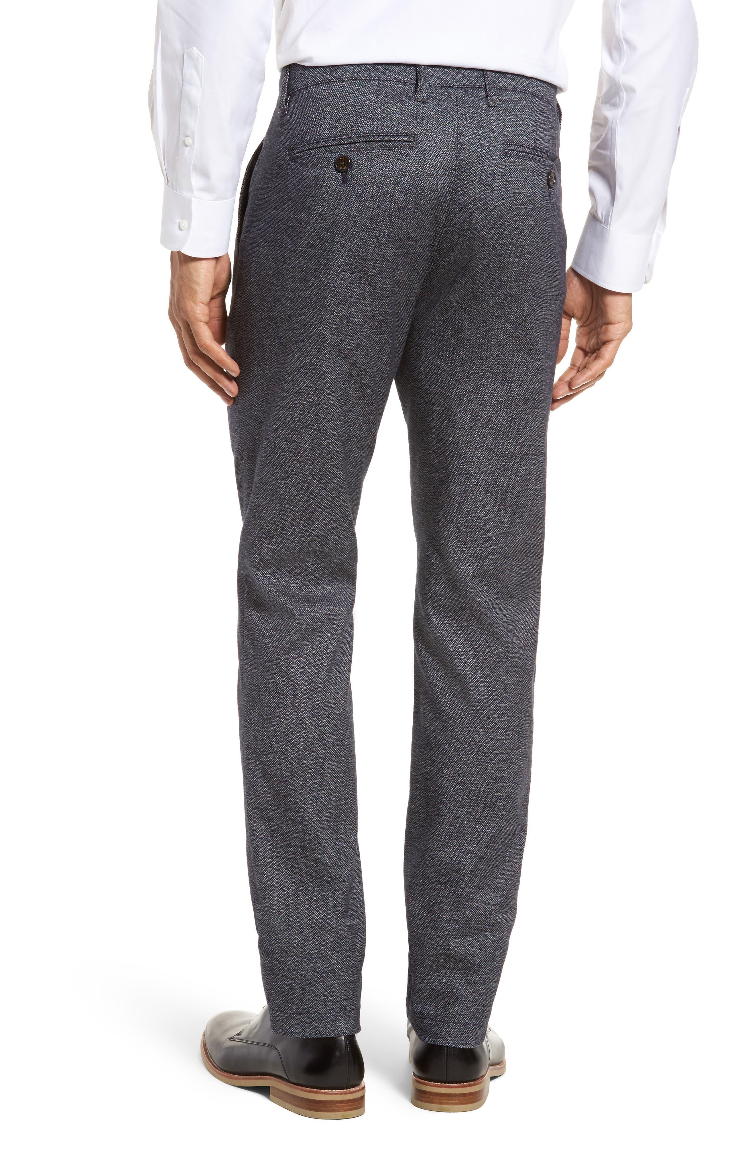 Pintztt Flat Front Stretch Solid Cotton Pants,                             Alternate thumbnail 2, color,                             Navy