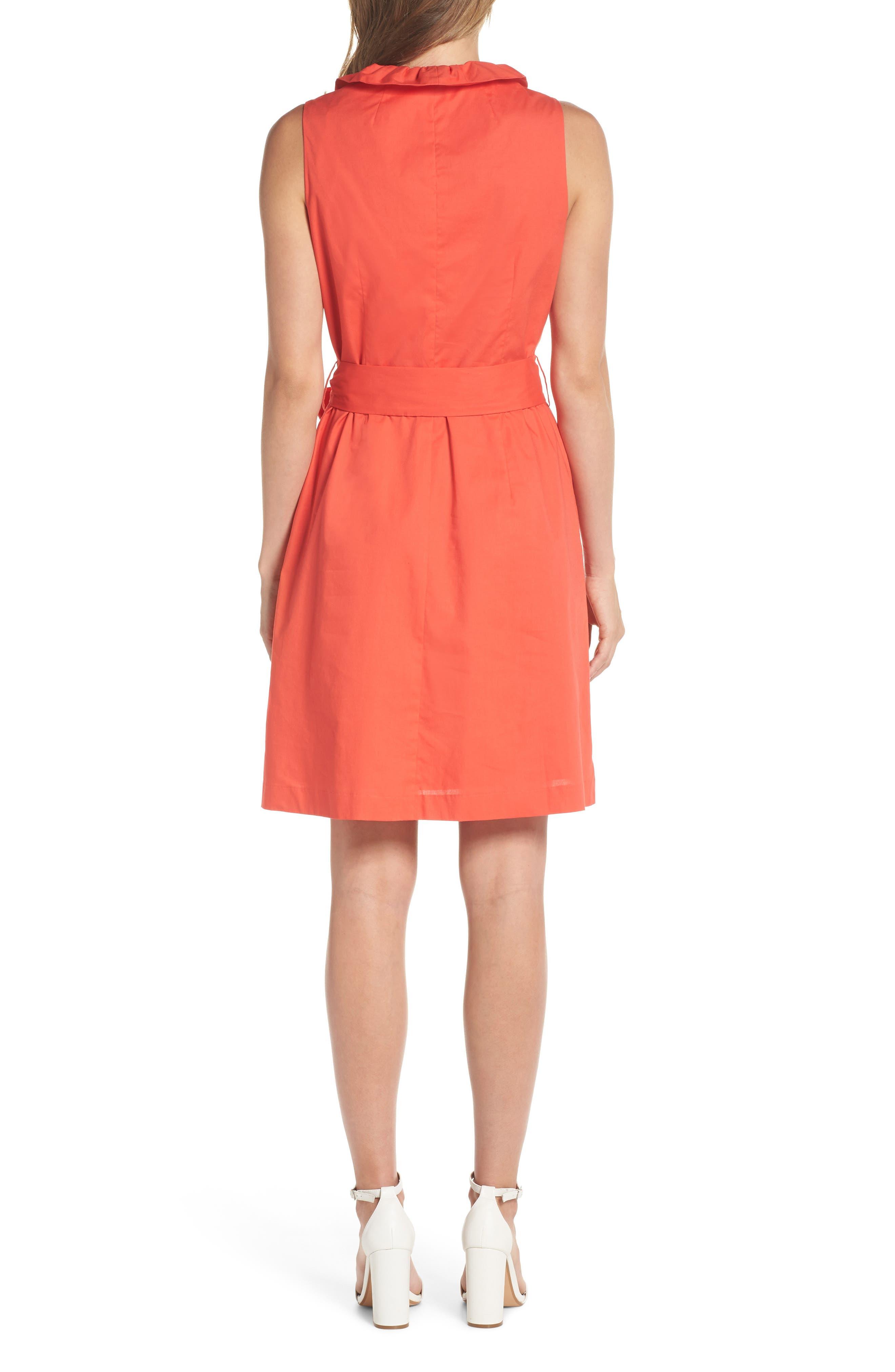 Ruffle Trim Poplin Wrap Dress,                             Alternate thumbnail 2, color,                             Coral
