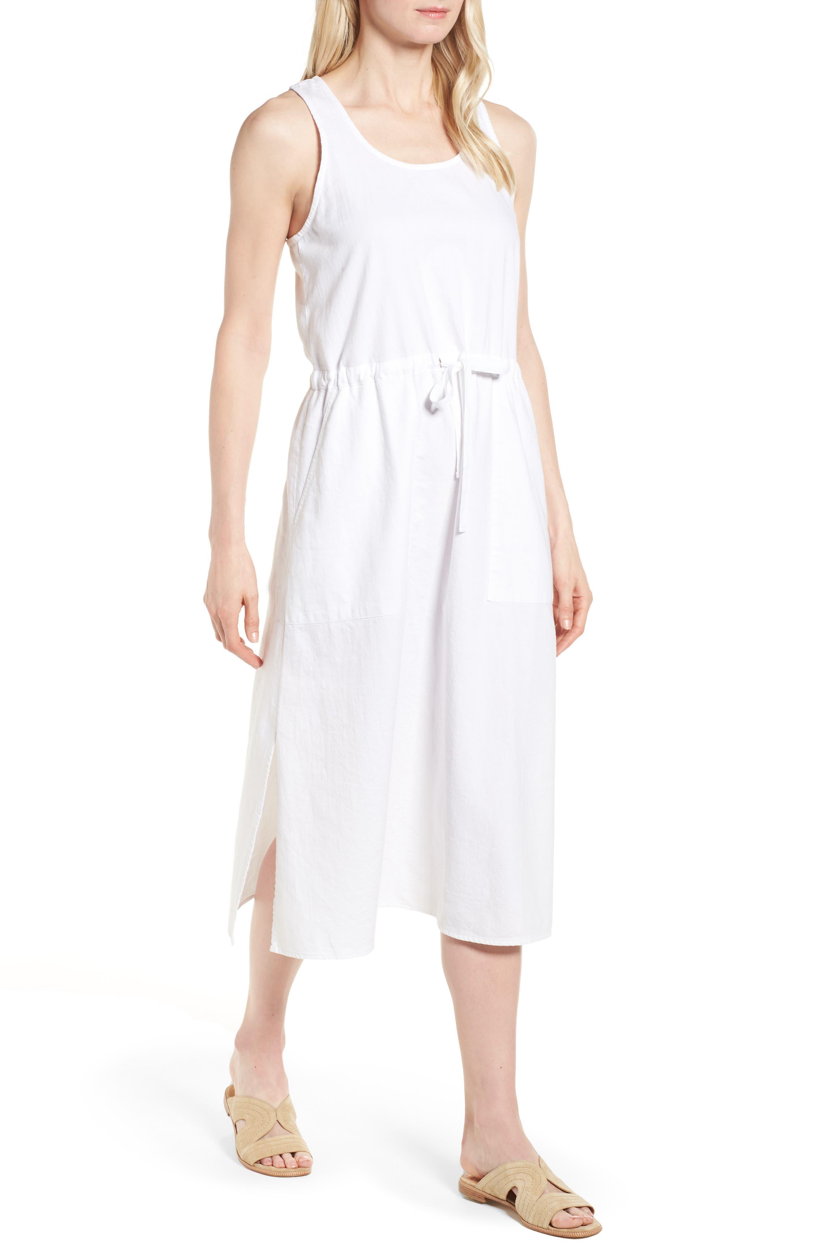 Drawstring Organic Cotton Midi Dress,                             Main thumbnail 1, color,                             White