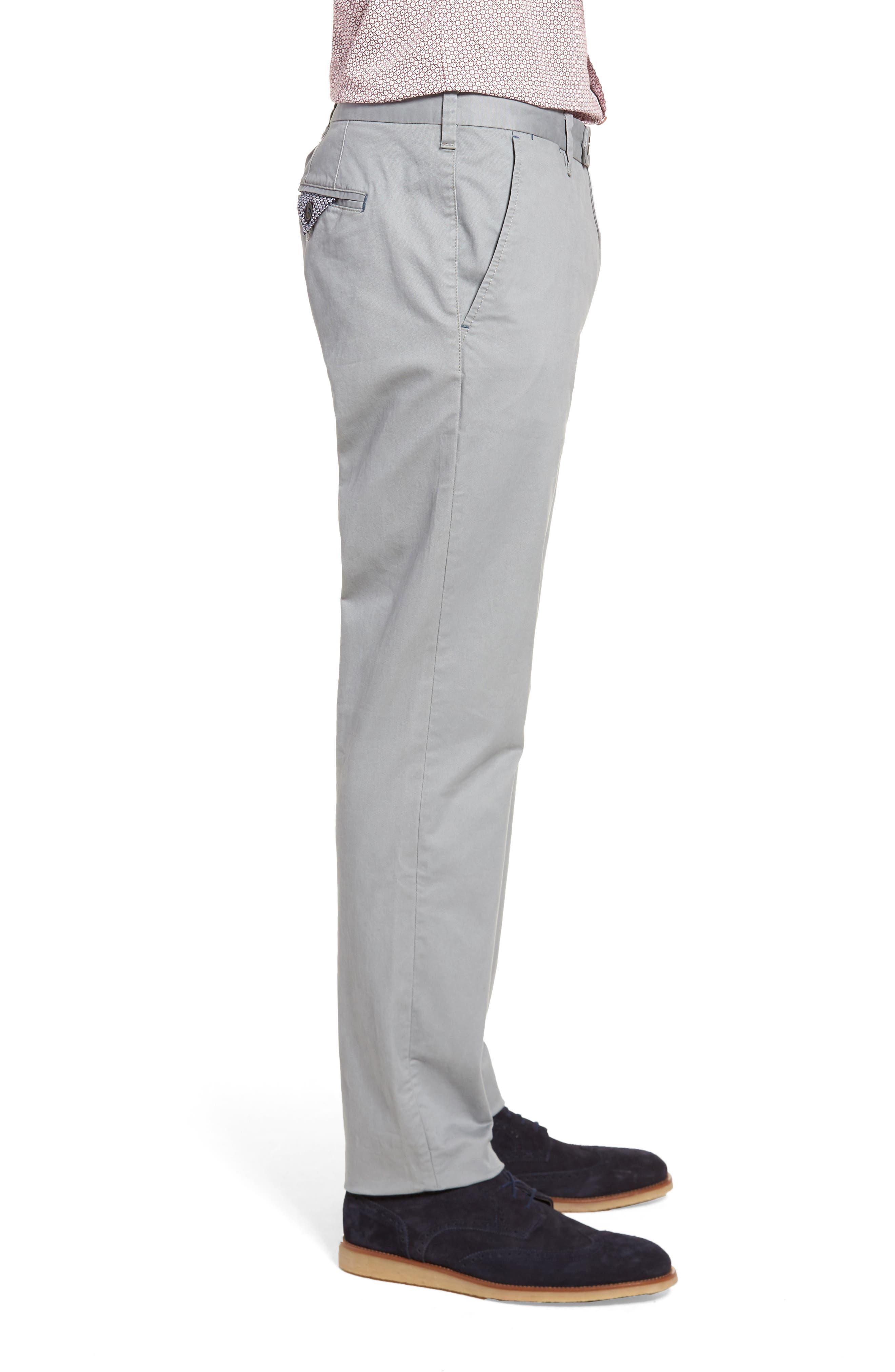 Proctt Flat Front Stretch Solid Cotton Pants,                             Alternate thumbnail 3, color,                             Light Grey