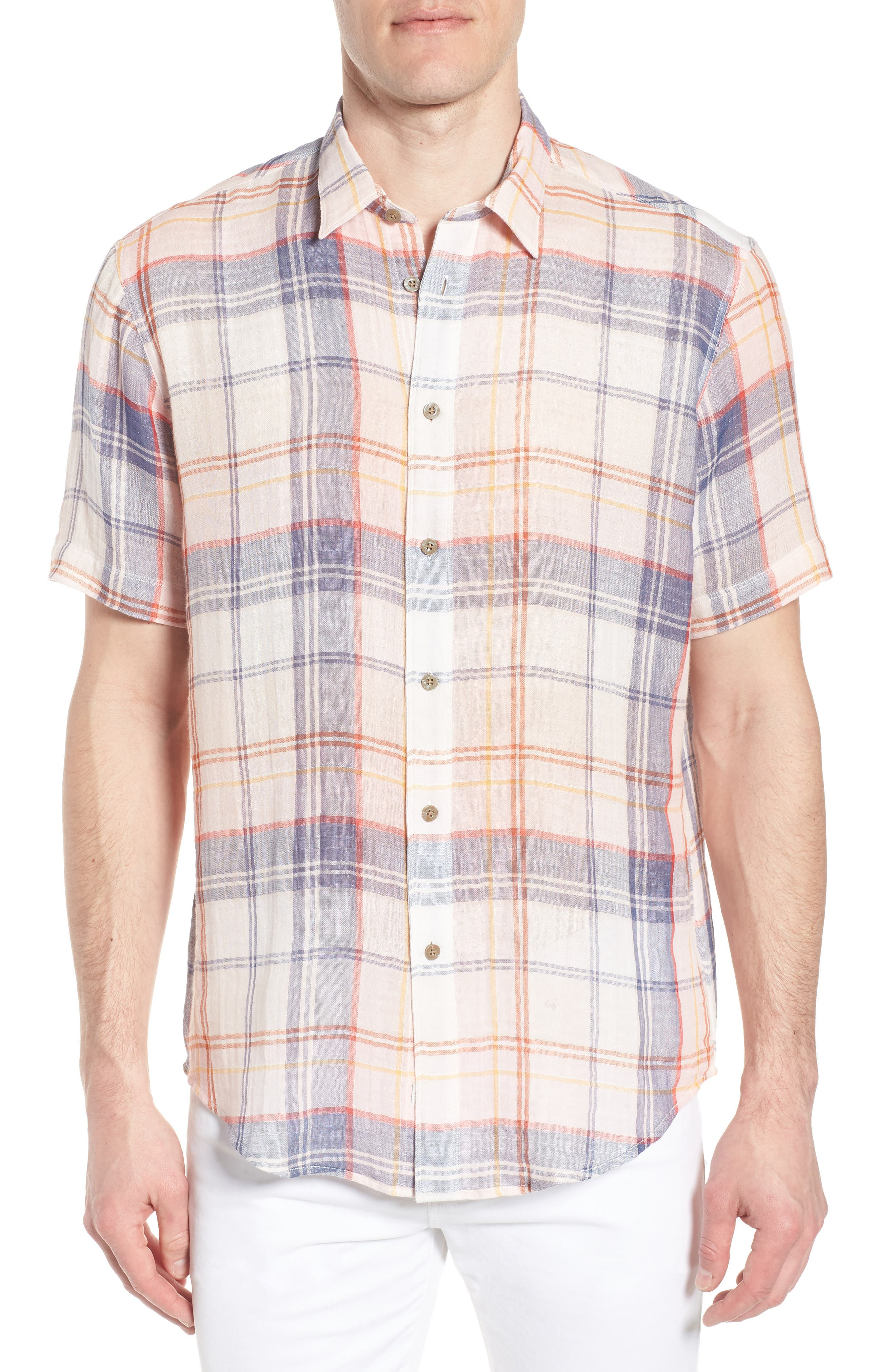 Tradewinds Regular Fit Short Sleeve Sport Shirt,                         Main,                         color, Rose