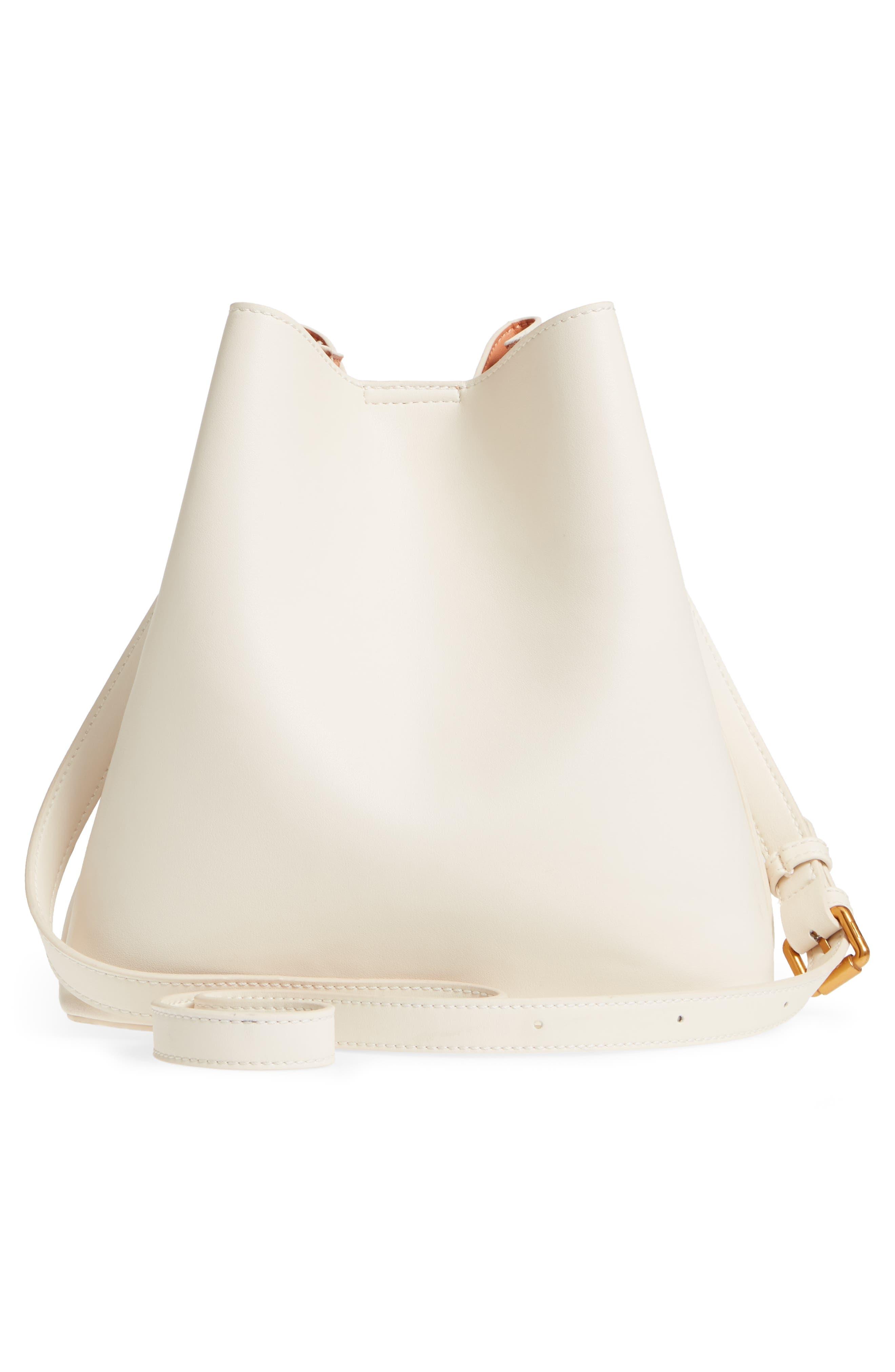 Faux Leather Bucket Tote,                             Alternate thumbnail 7, color,                             White/ Blush