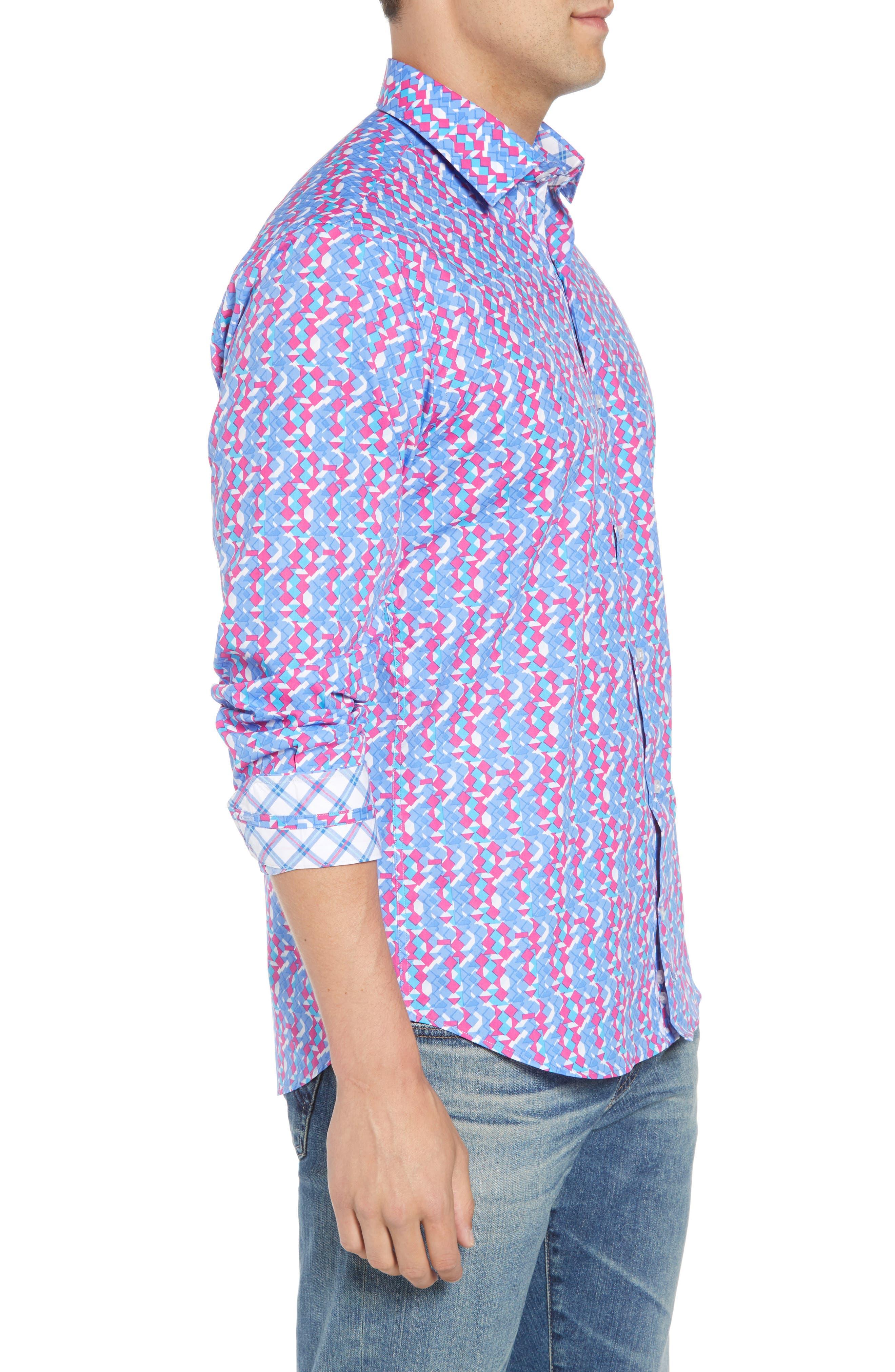 Beal Regular Fit Geo Print Sport Shirt,                             Alternate thumbnail 4, color,                             Peri Blue