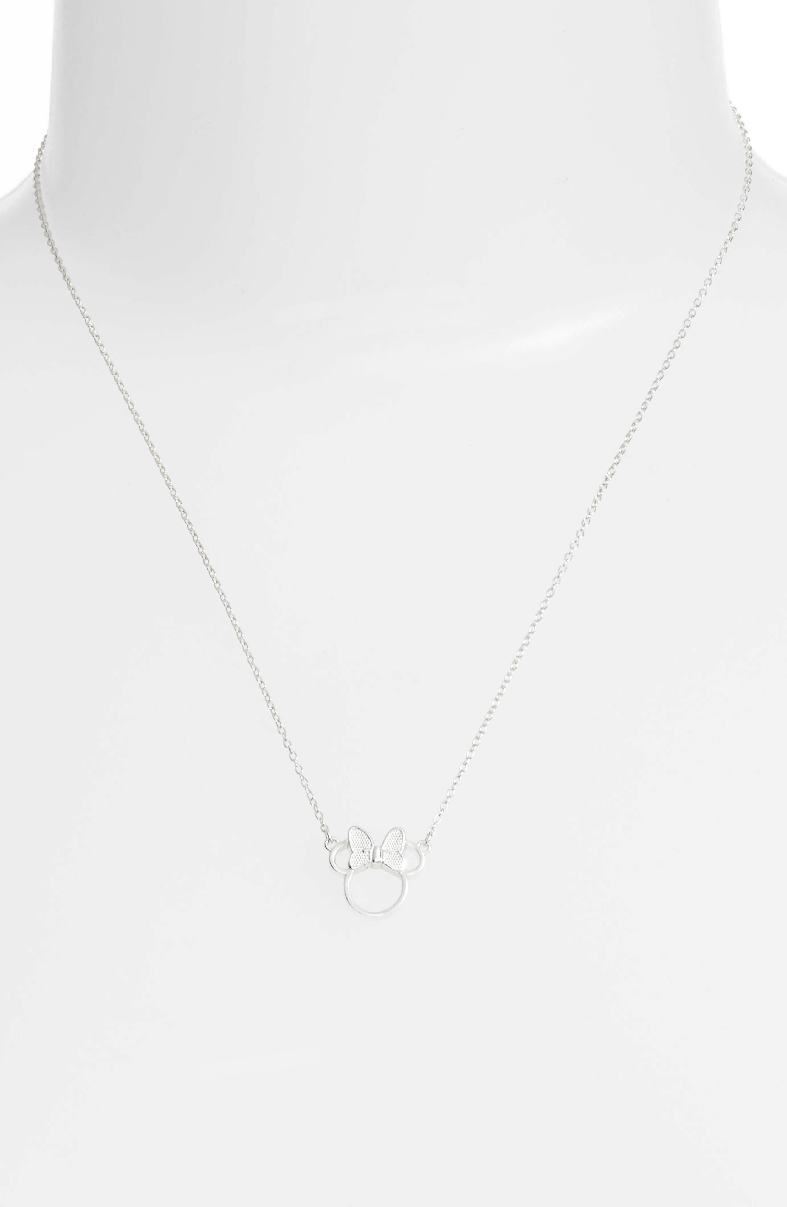 Minnie Mouse Pendant Necklace,                             Alternate thumbnail 2, color,                             Silver