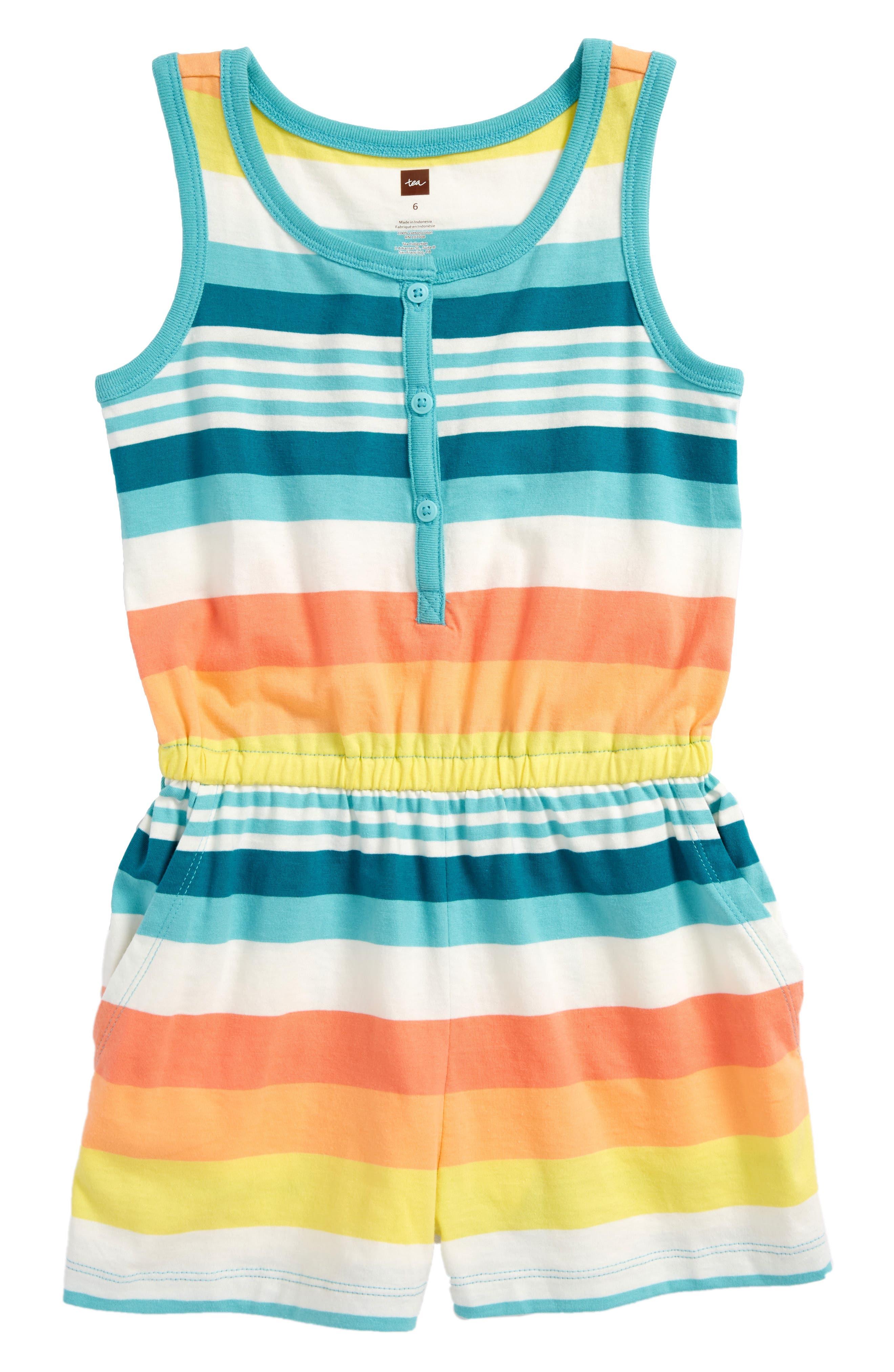 Vibrant Stripe Romper,                             Main thumbnail 1, color,                             Citrus