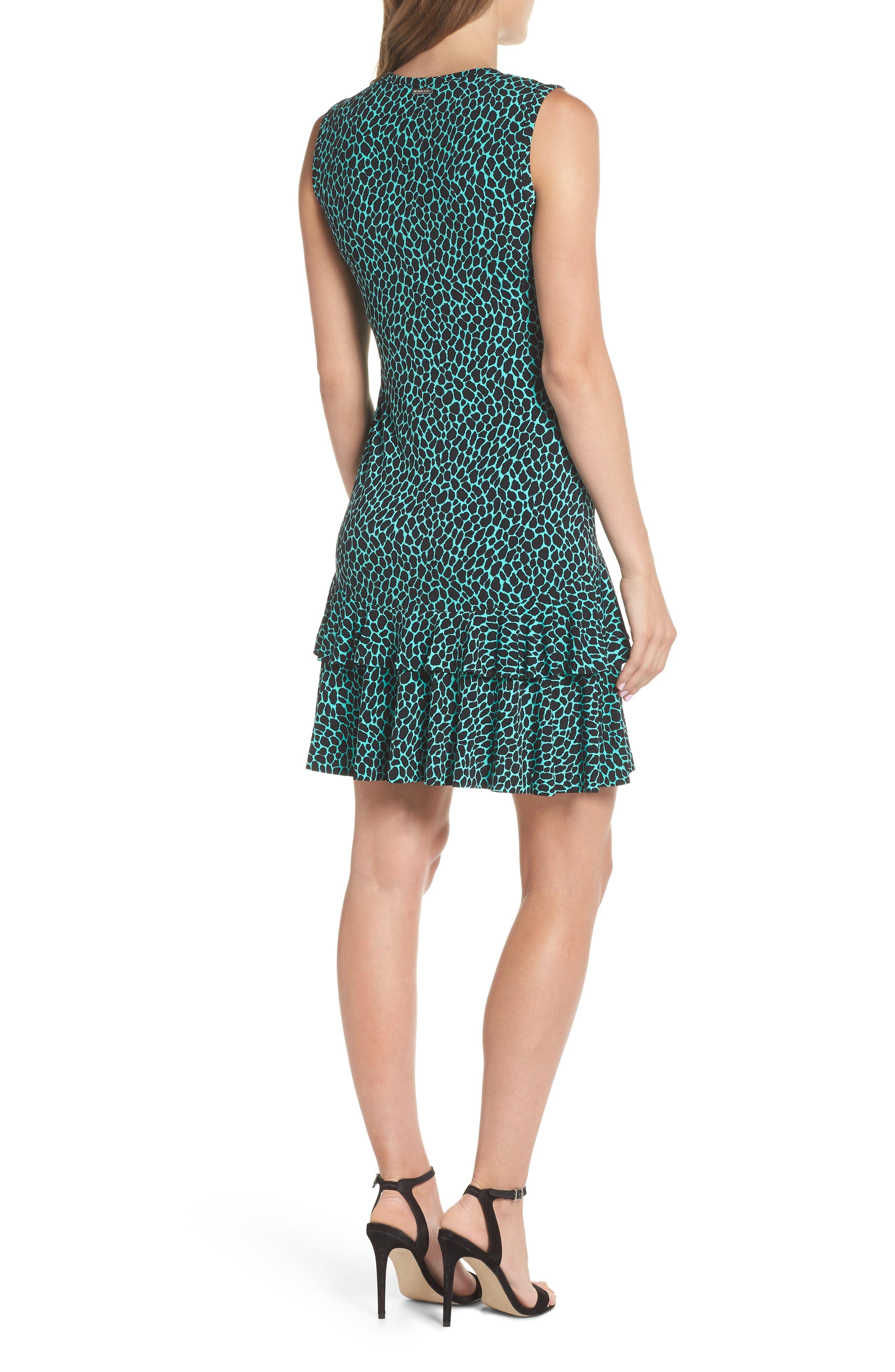 Leopard Print Flounce Hem Dress,                             Alternate thumbnail 2, color,                             Aqua/ Black