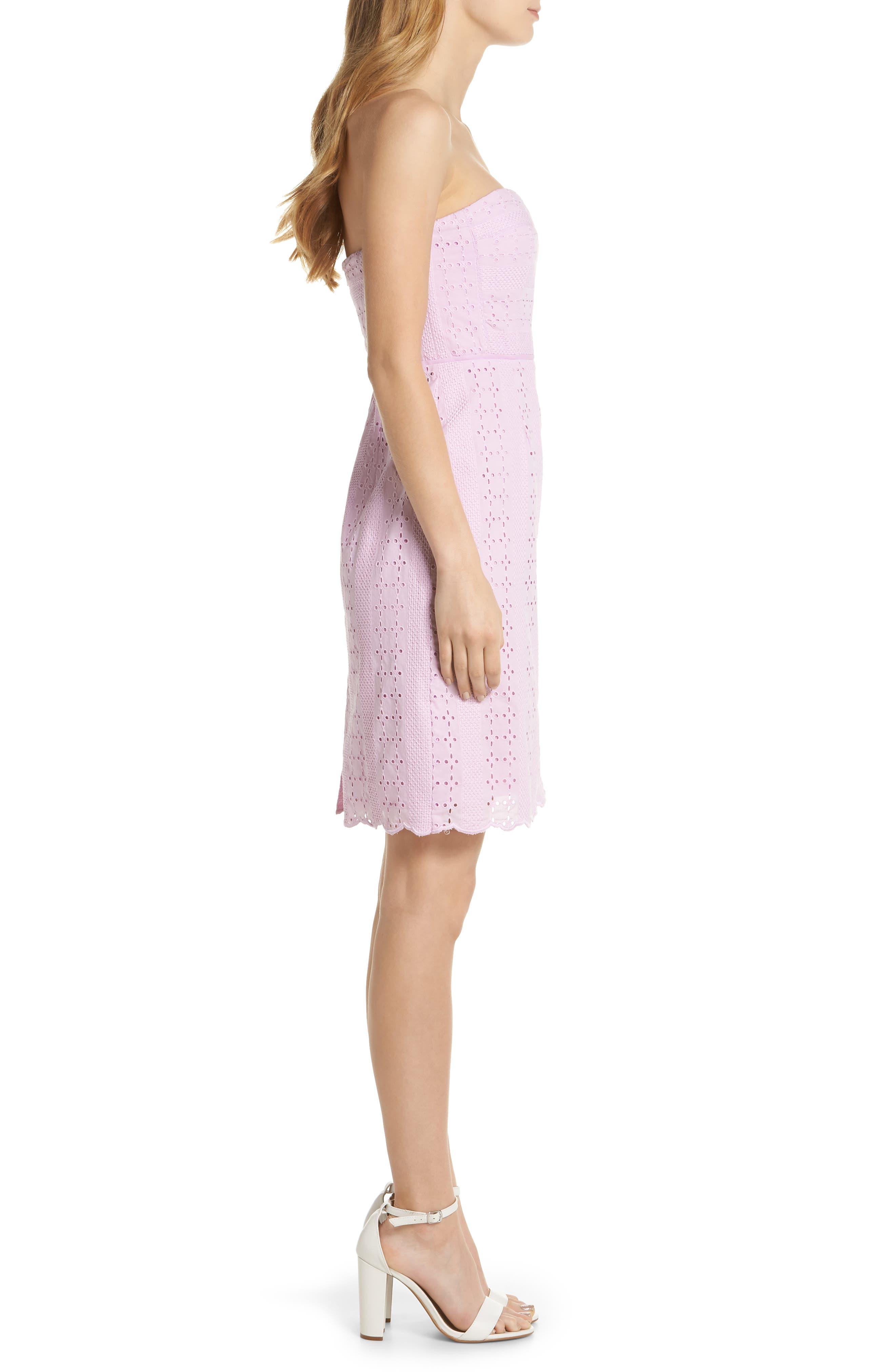 J.Crew Strapless Eyelet Sheath Dress,                             Alternate thumbnail 3, color,                             Lavender Mist