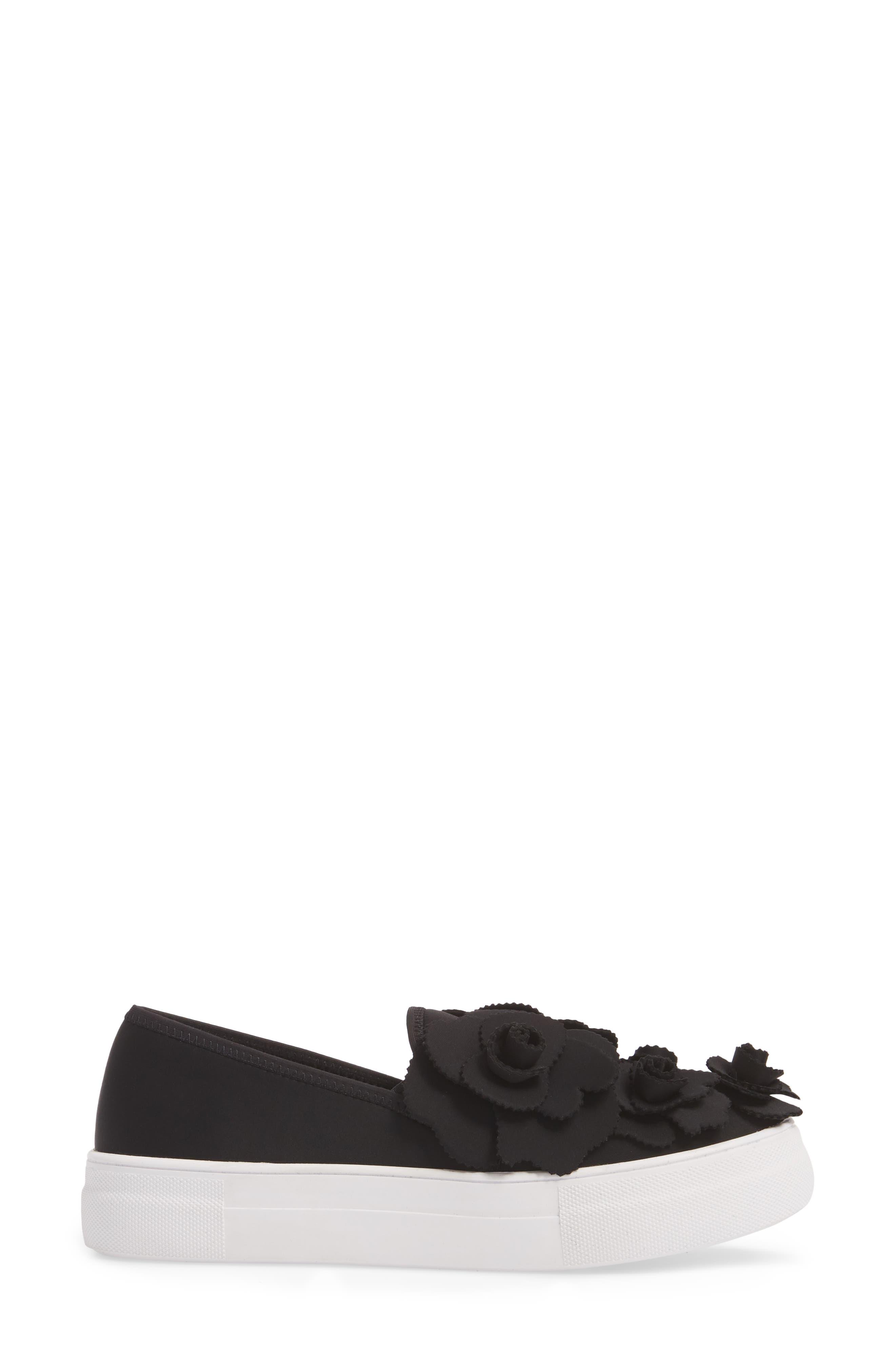 Alden Floral Embellished Slip-On Sneaker,                             Alternate thumbnail 3, color,                             Black Flower Neoprene