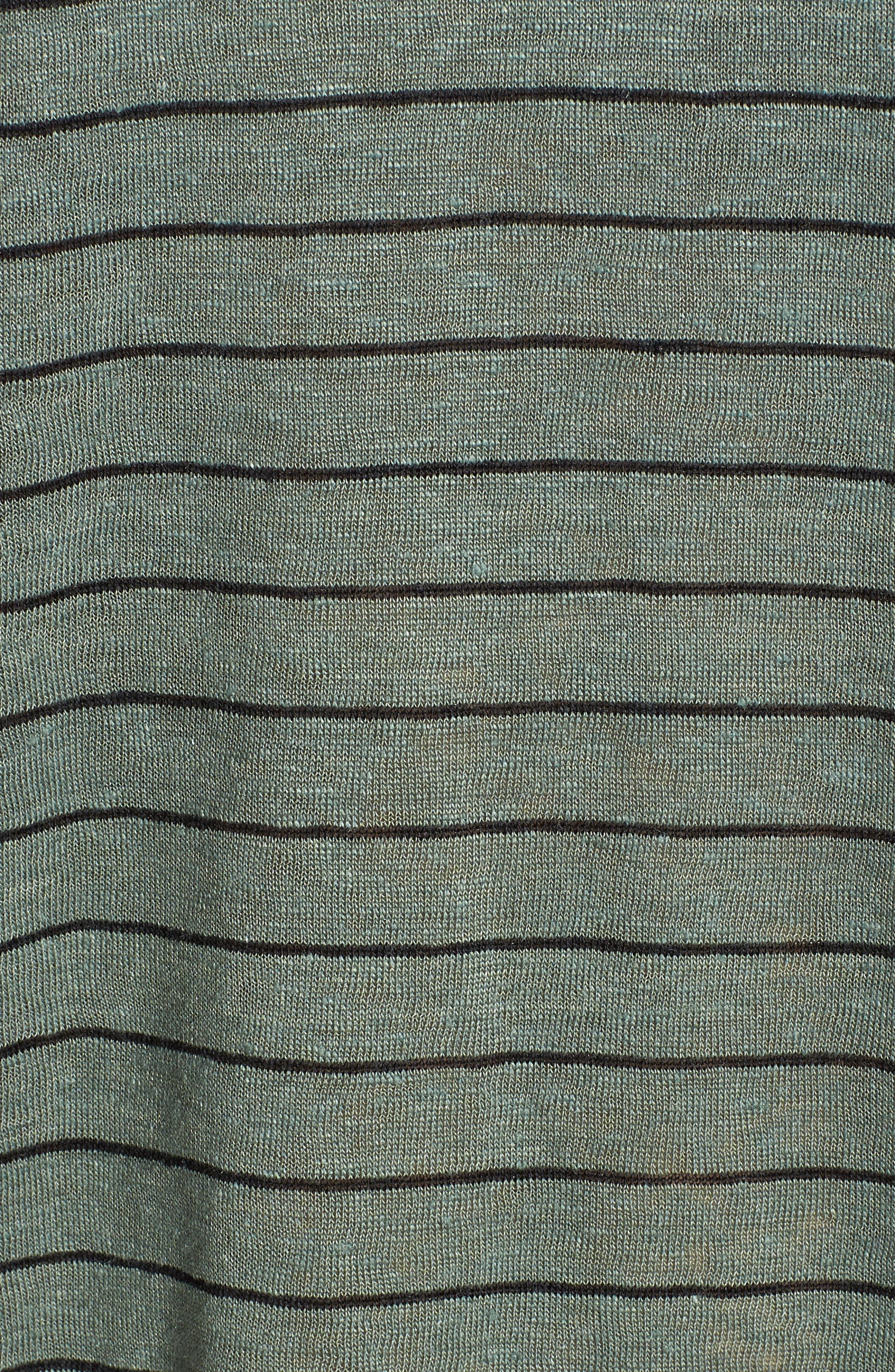 Stripe Organic Linen Shift Dress,                             Alternate thumbnail 6, color,                             Nori