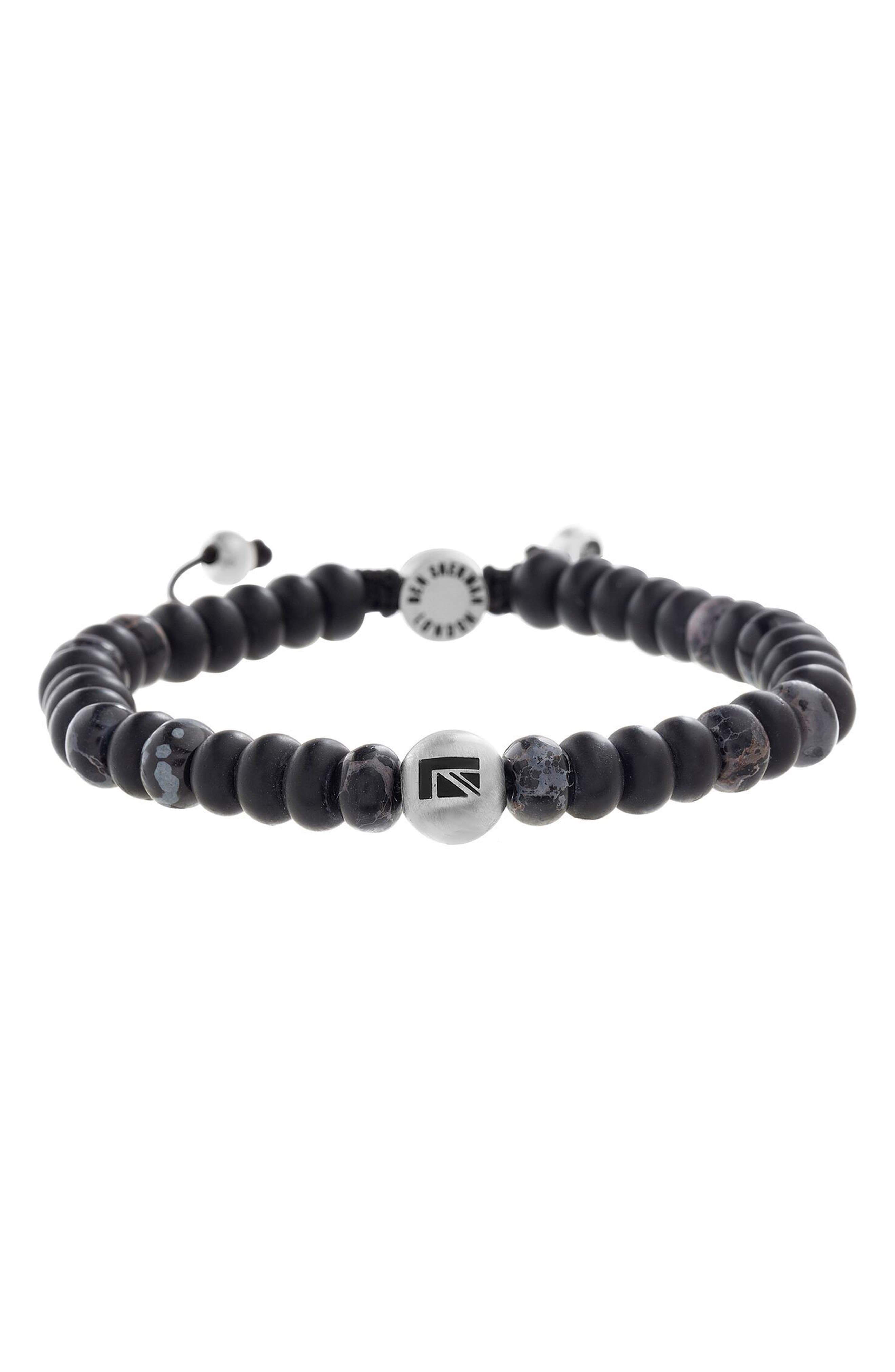 Stone Bead Bracelet,                             Main thumbnail 1, color,                             Black