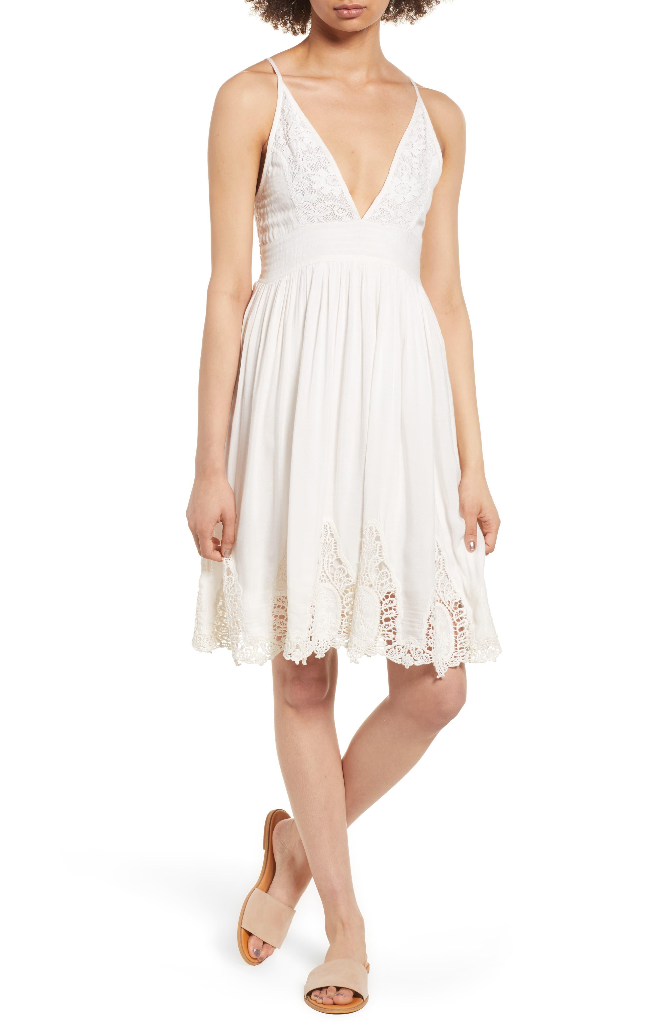 Janika Crochet & Lace Trim Dress,                             Main thumbnail 1, color,                             Eggshell