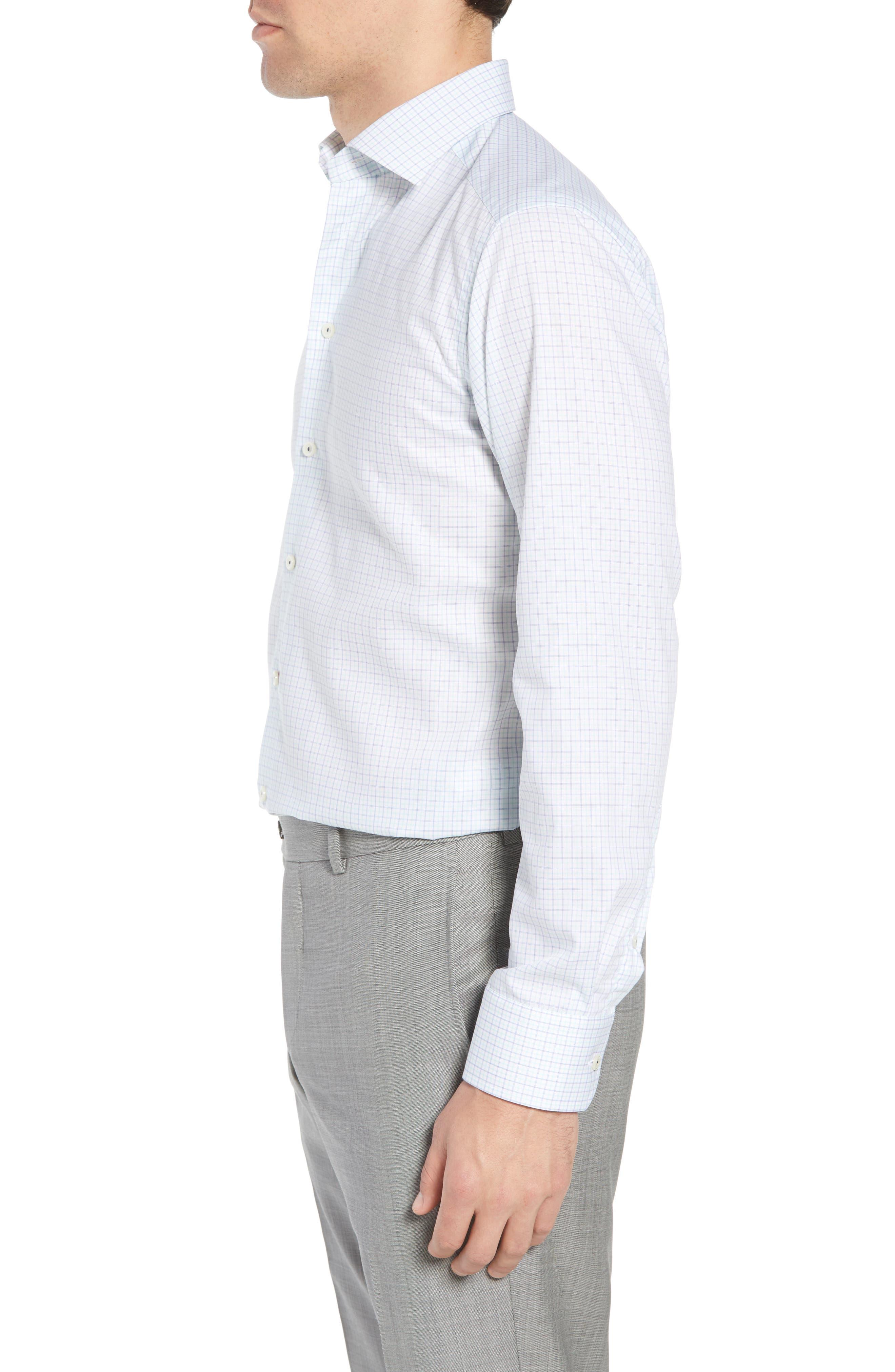 Slim Fit Check Dress Shirt,                             Alternate thumbnail 4, color,                             Green