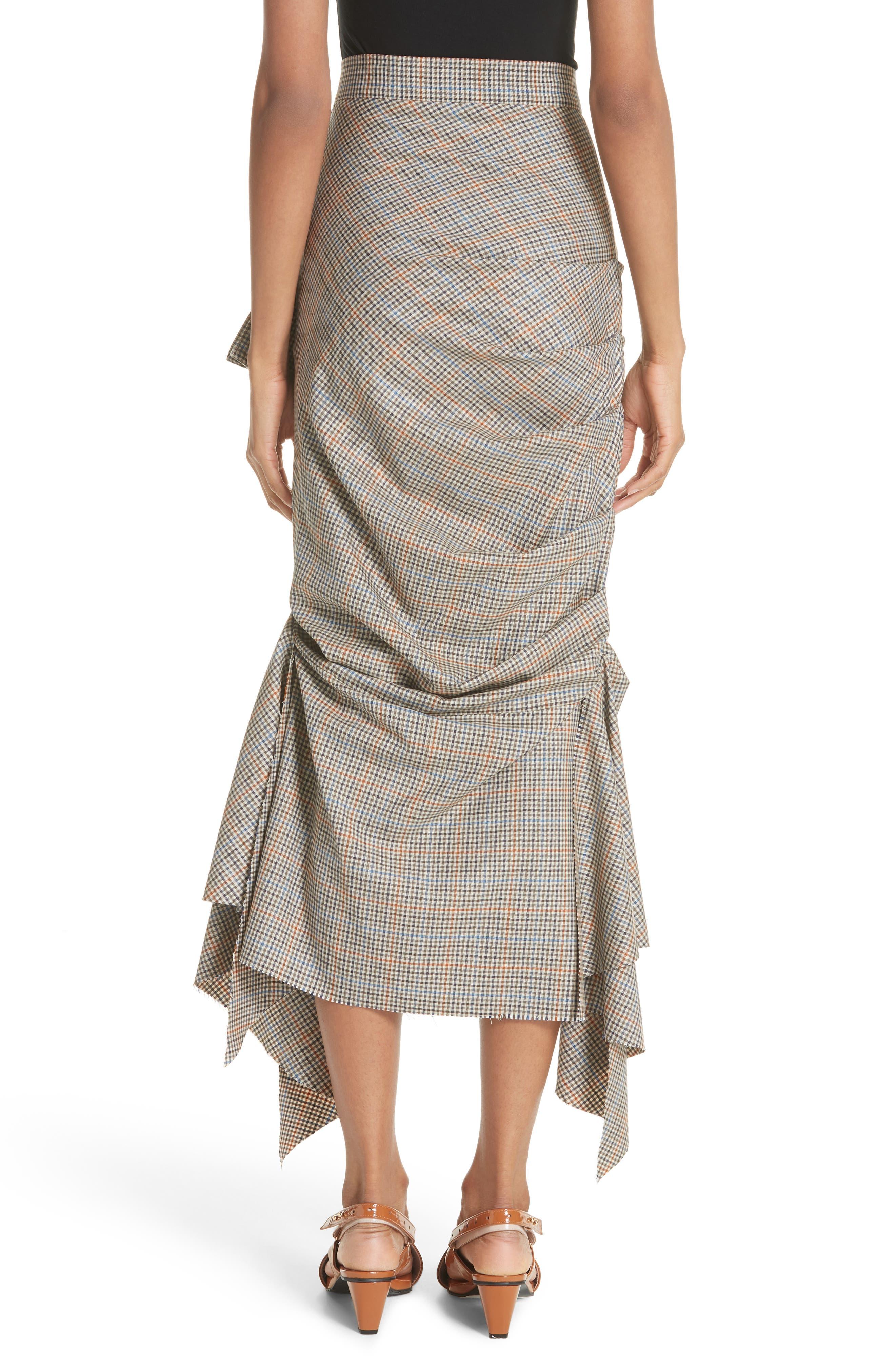 Draped Plaid Wool Skirt,                             Alternate thumbnail 2, color,                             Plaid