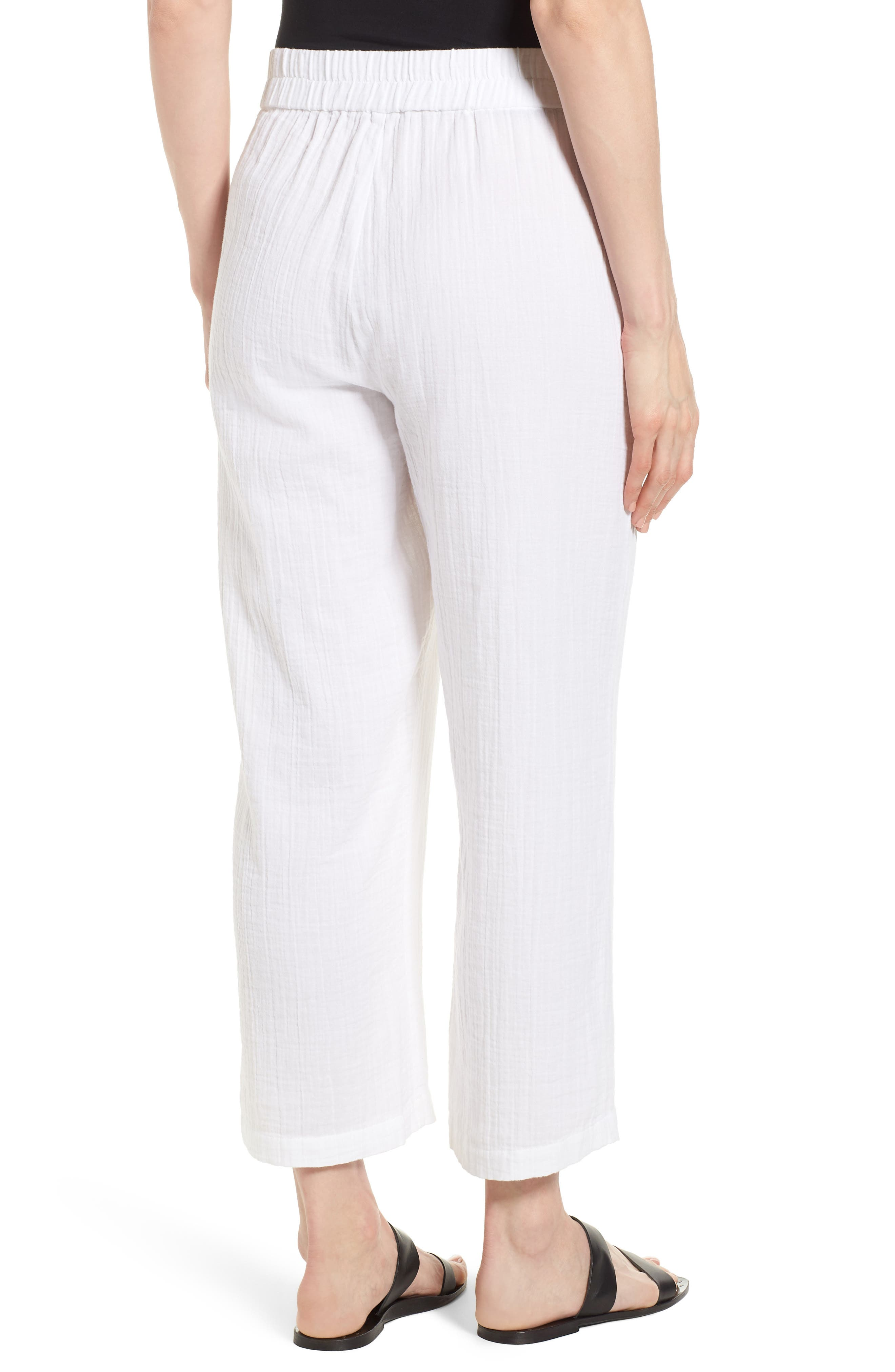 Straight Leg Organic Cotton Pants,                             Alternate thumbnail 2, color,                             White